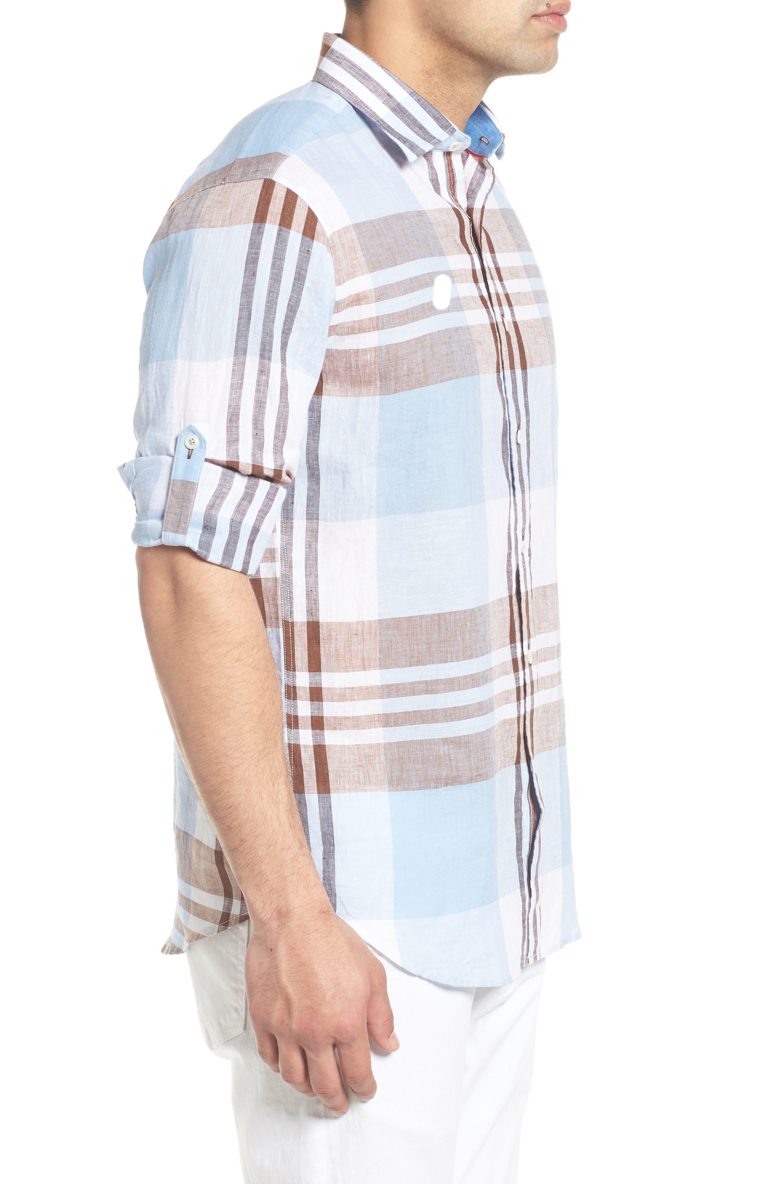 Shaped Fit Plaid Linen Blend Sport Shirt,                             Alternate thumbnail 4, color,                             Mocha