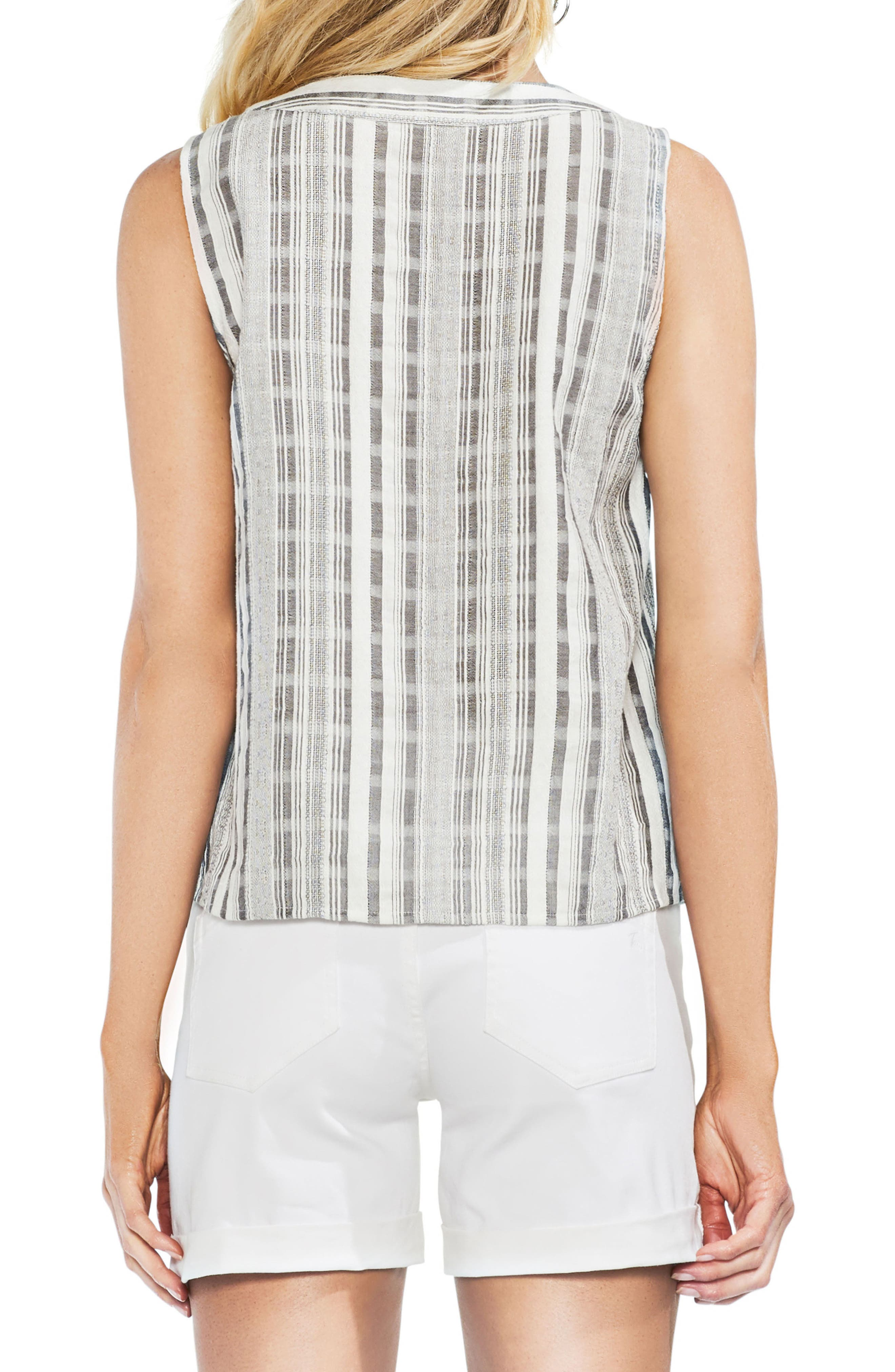 Striped Sleeveless Lace-Up Top,                             Alternate thumbnail 2, color,                             New Ivory