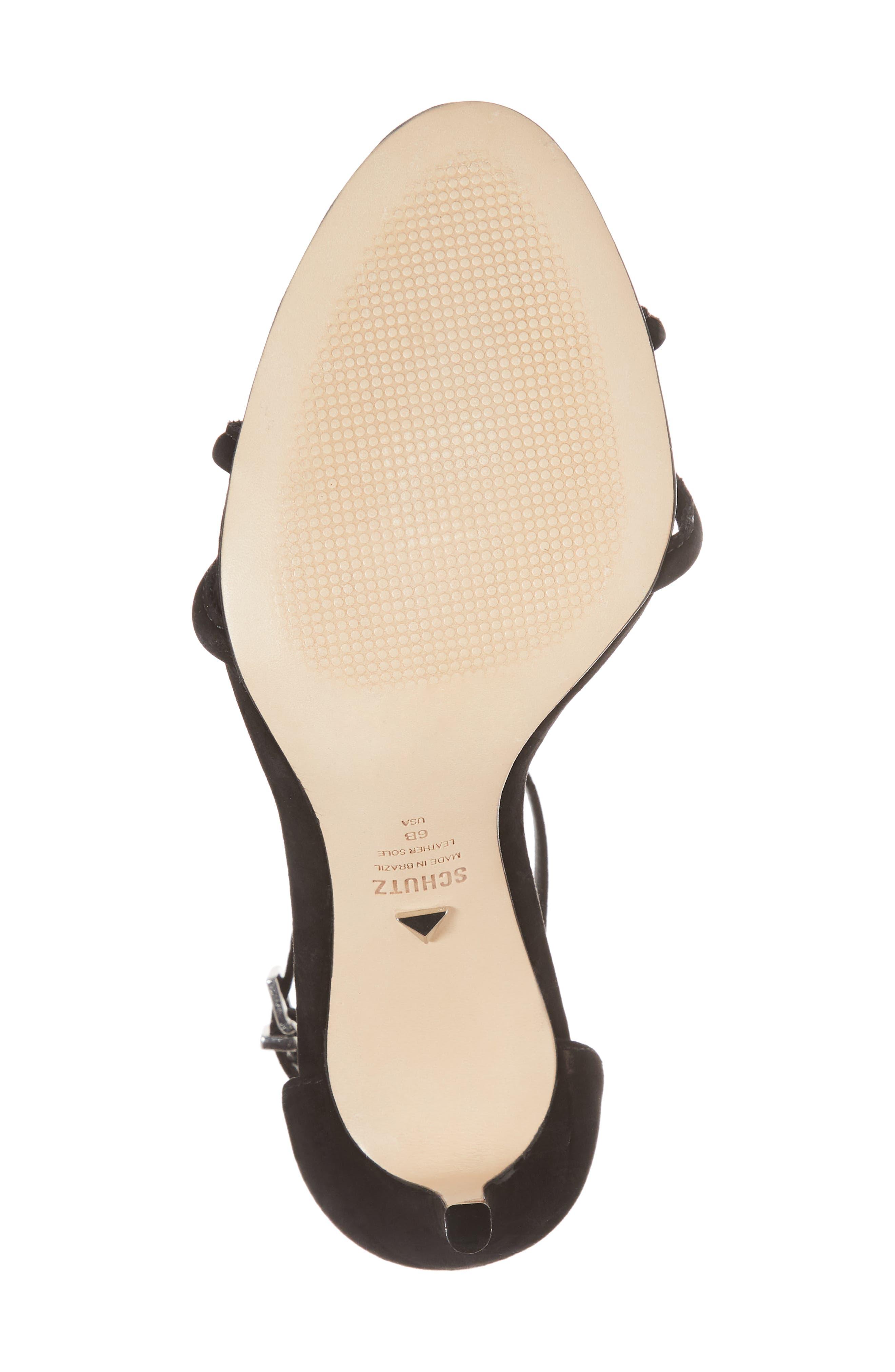 Rhana Ankle Strap Sandal,                             Alternate thumbnail 6, color,                             Black Leather