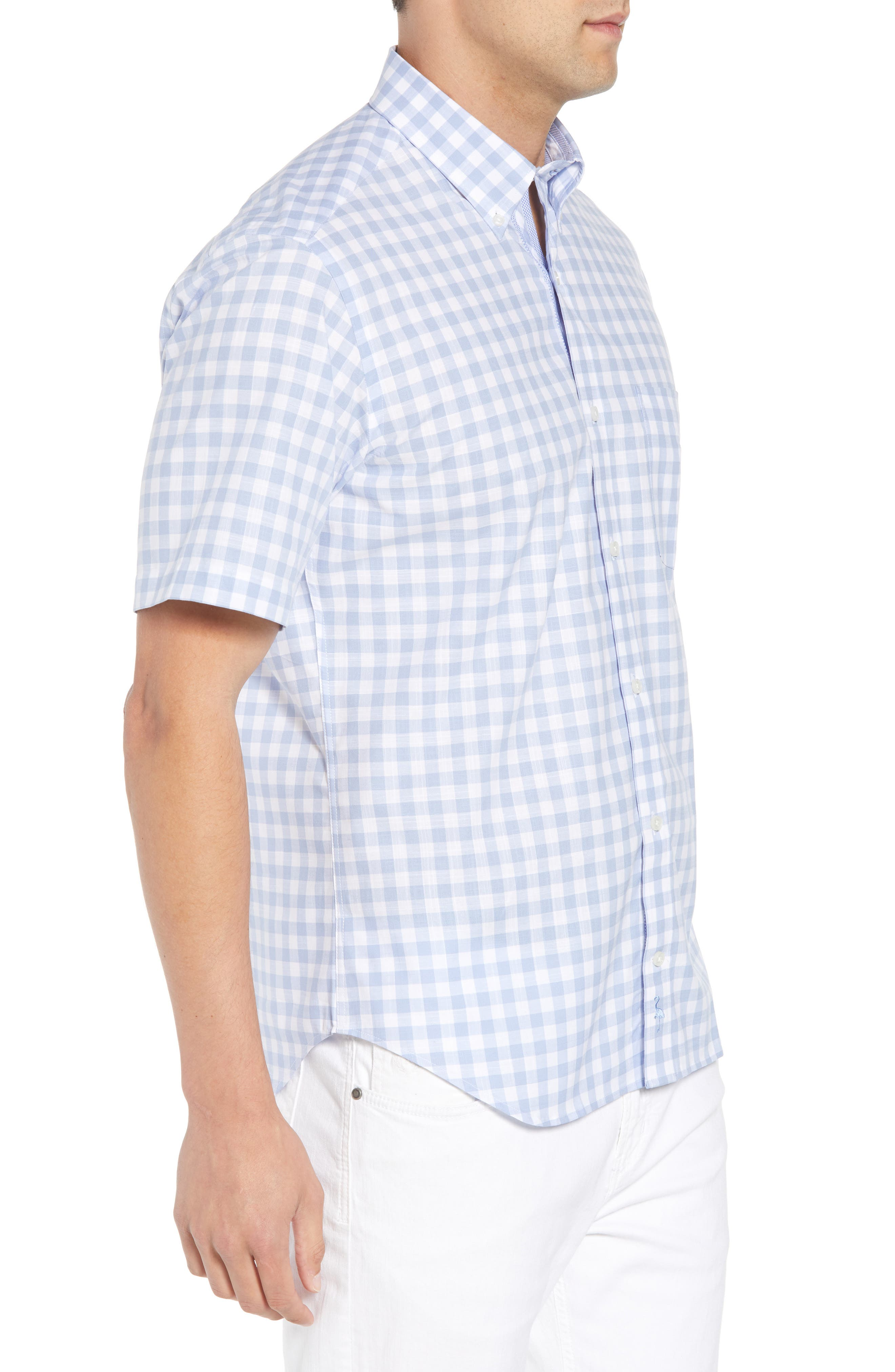 Hawes Regular Fit Check Sport Shirt,                             Alternate thumbnail 4, color,                             Light Blue