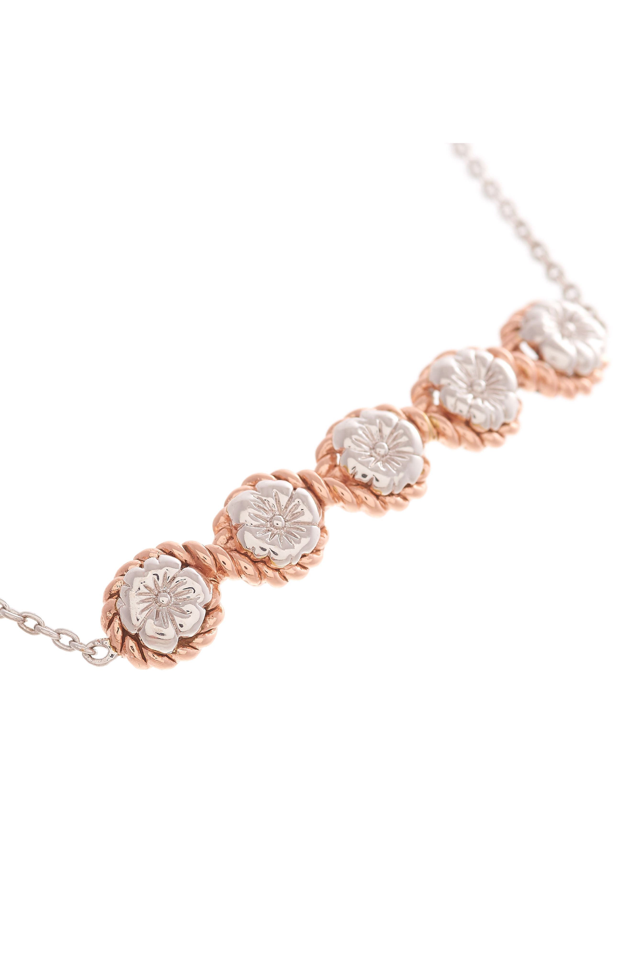 Flower Show Rope Chain Bracelet,                             Alternate thumbnail 2, color,                             Silver / Rose Gold