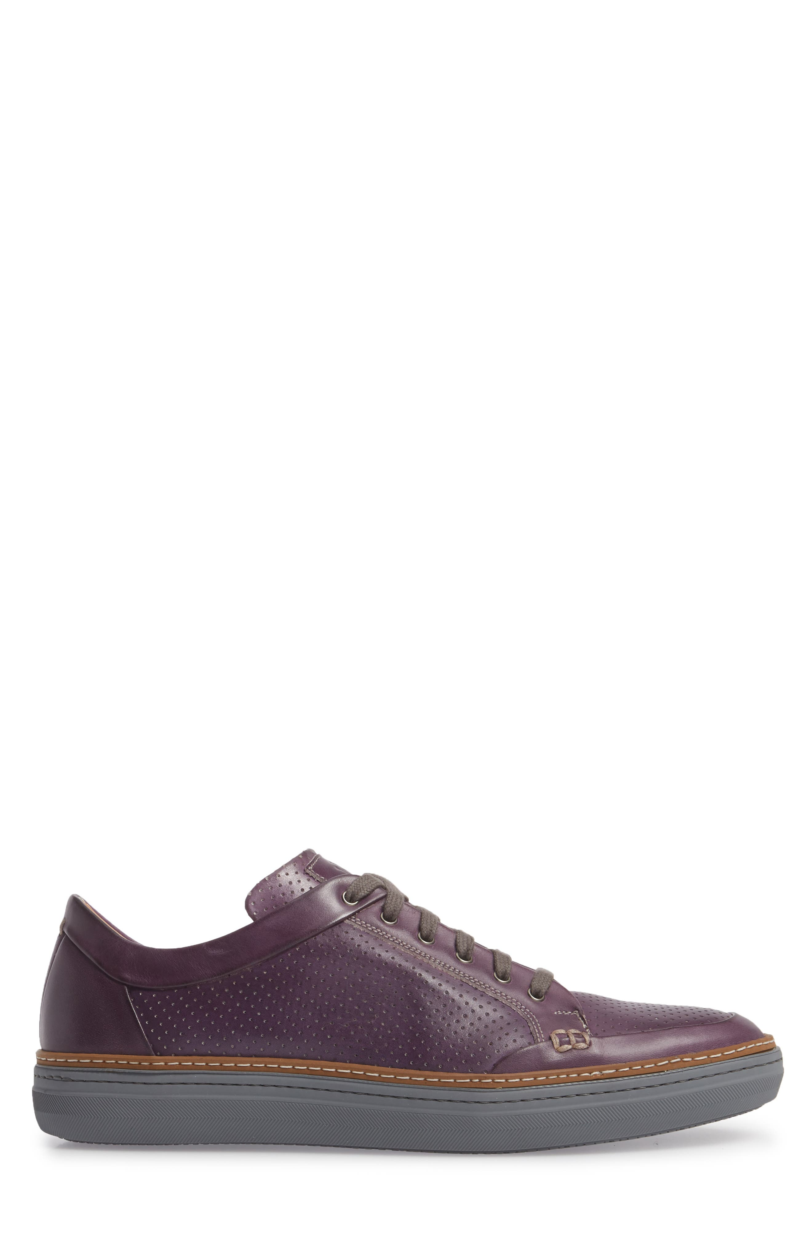 Ceres Perforated Low Top Sneaker,                             Alternate thumbnail 3, color,                             Purple Leather
