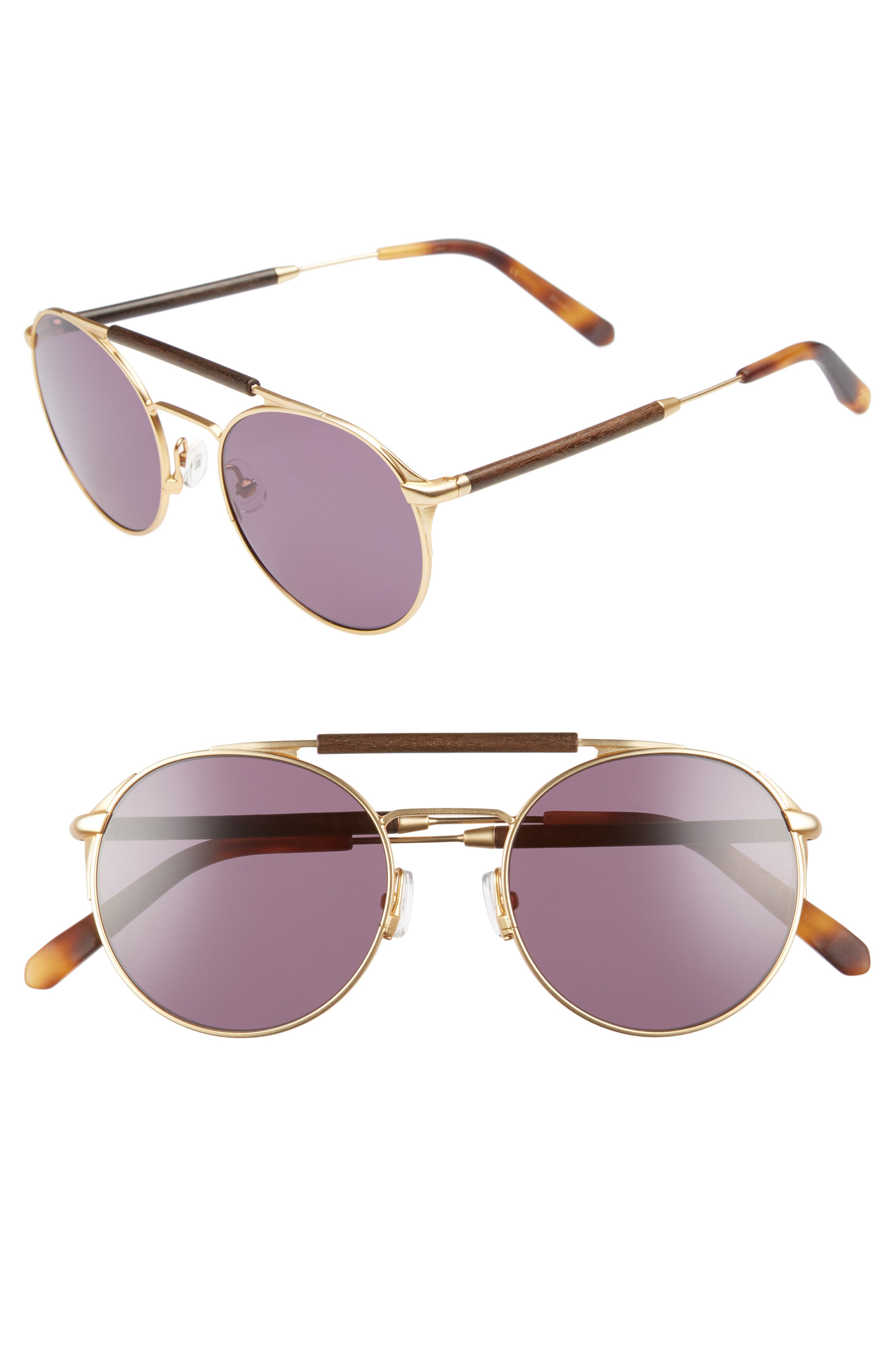 Bandon 52mm Round Sunglasses,                         Main,                         color, Matte Gold/ Walnut/ Grey