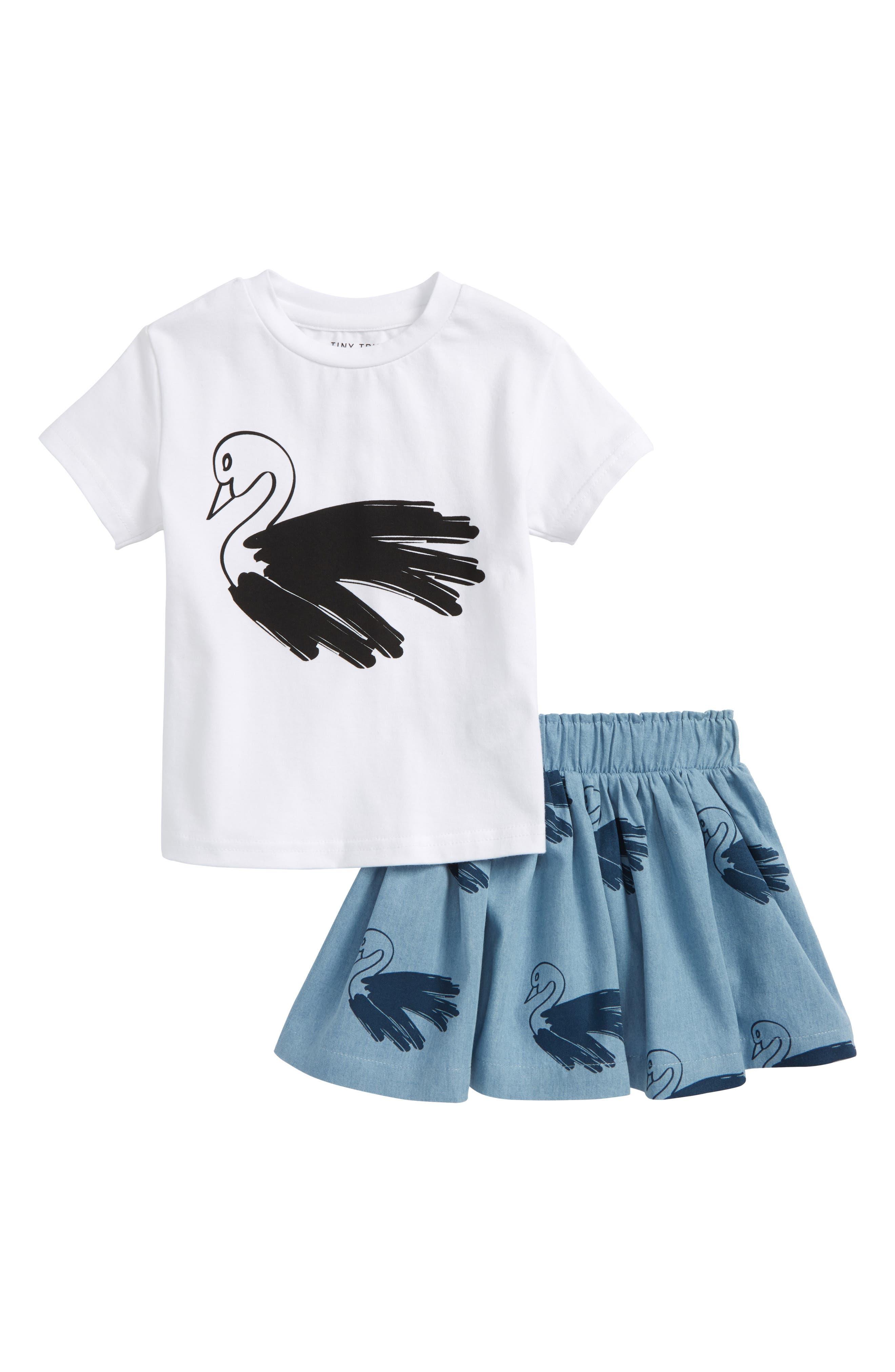 Swan Tee & Skort Set,                         Main,                         color, White/ Chambray