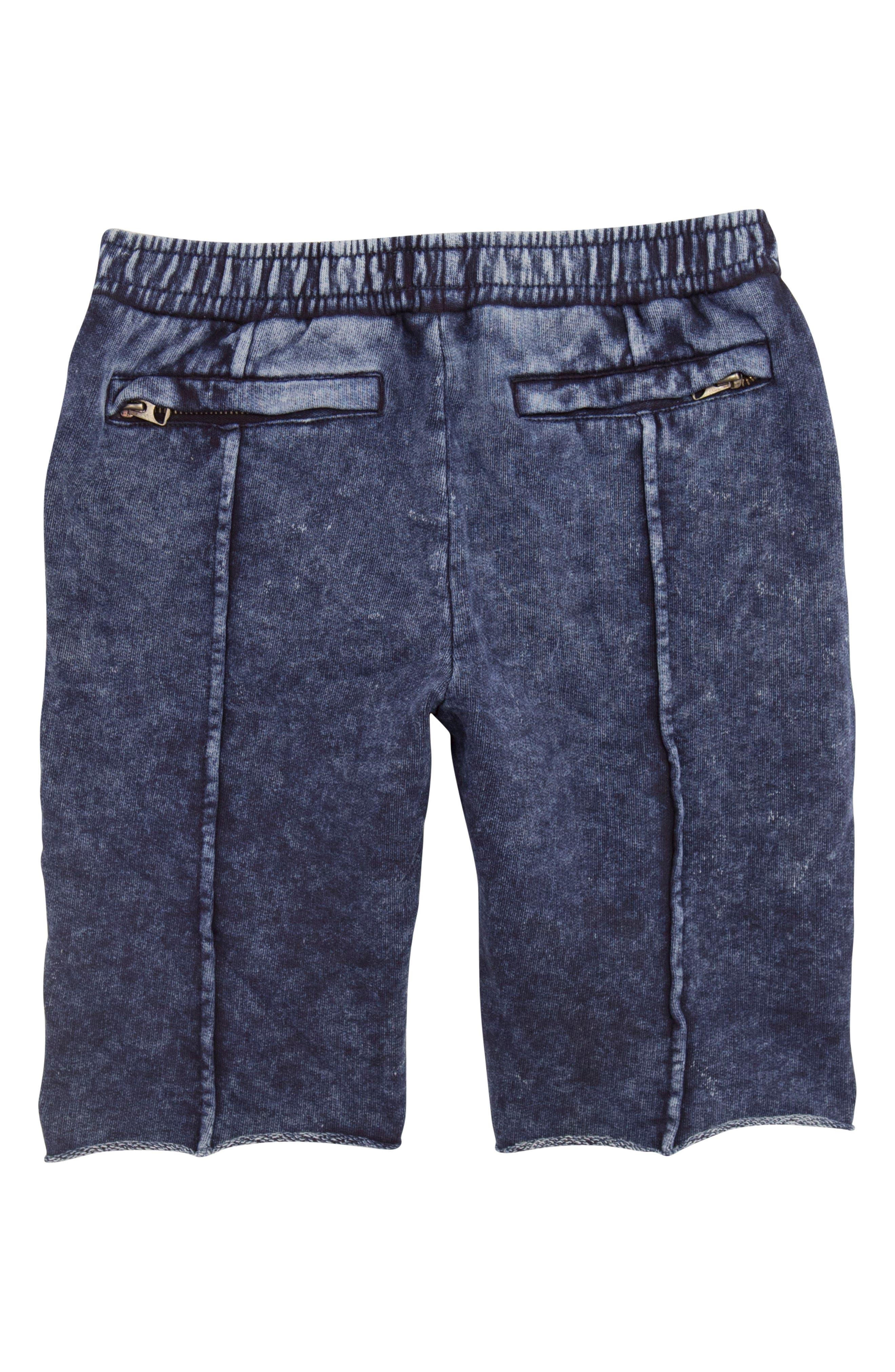 Acid Wash Pull-On Denim Shorts,                             Alternate thumbnail 3, color,                             Navy