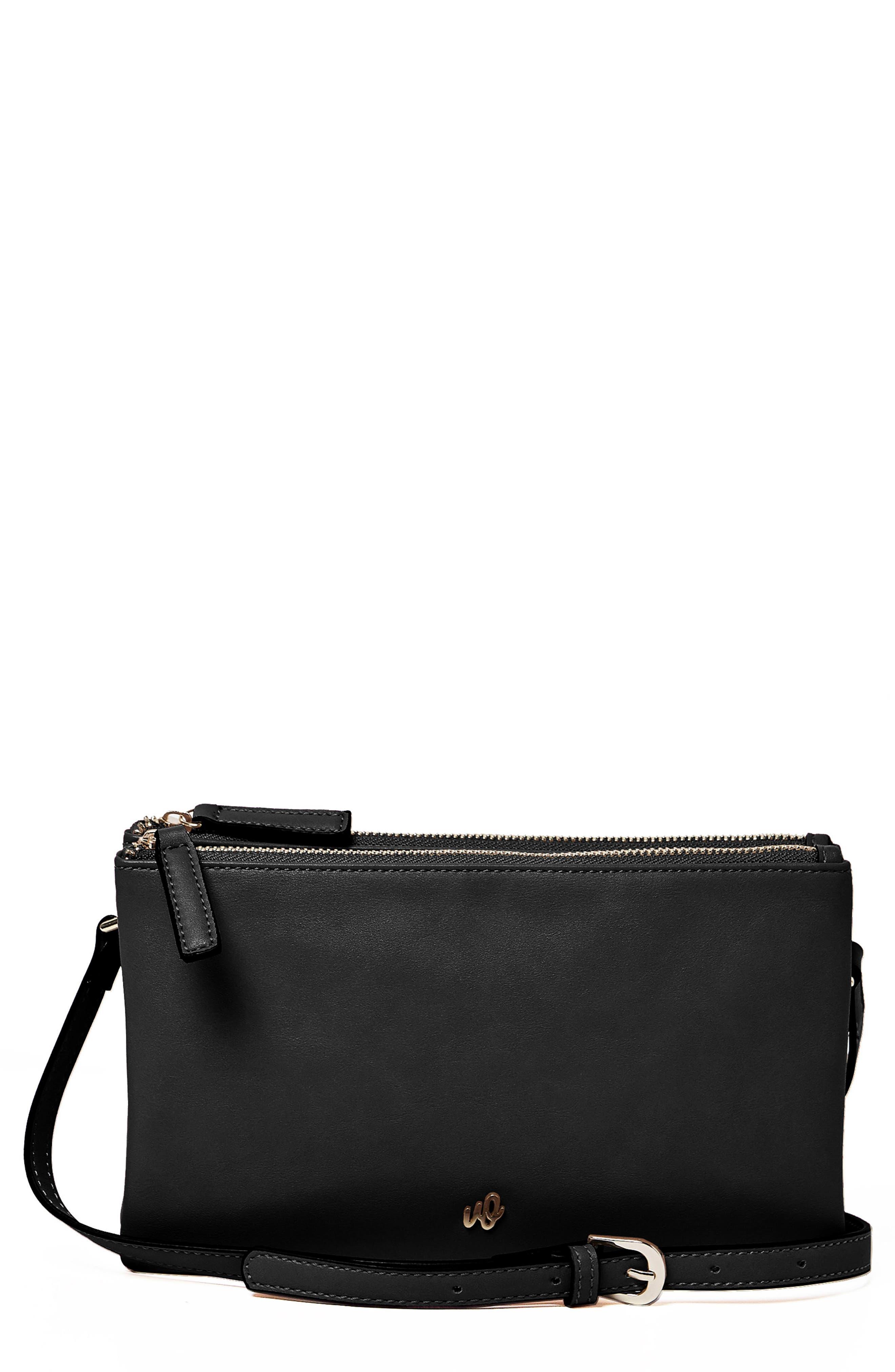 The Enchanted Vegan Leather Crossbody Bag,                             Main thumbnail 1, color,                             Black