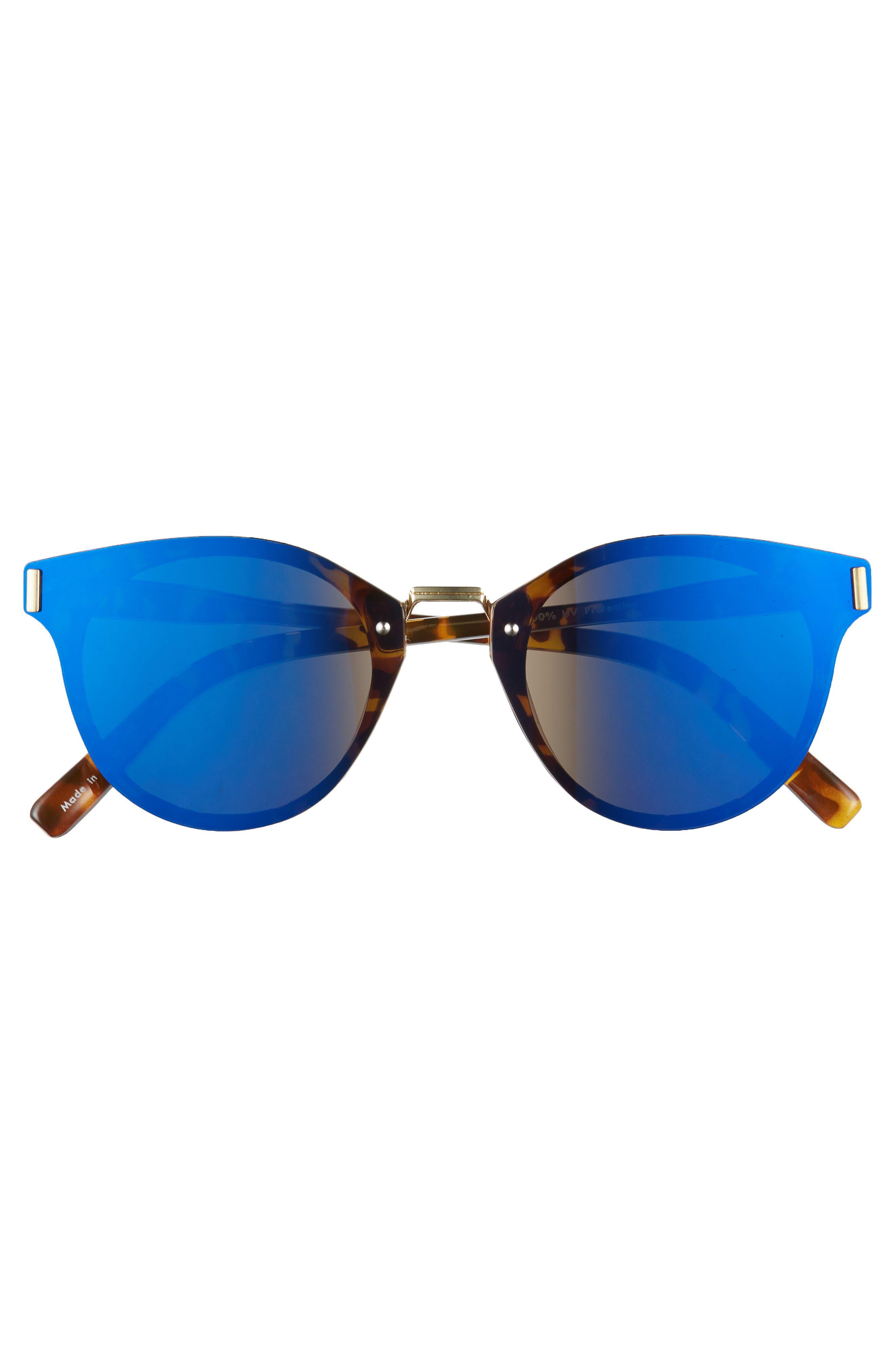Flat Cat Eye Sunglasses,                             Alternate thumbnail 3, color,                             Tort/ Blue