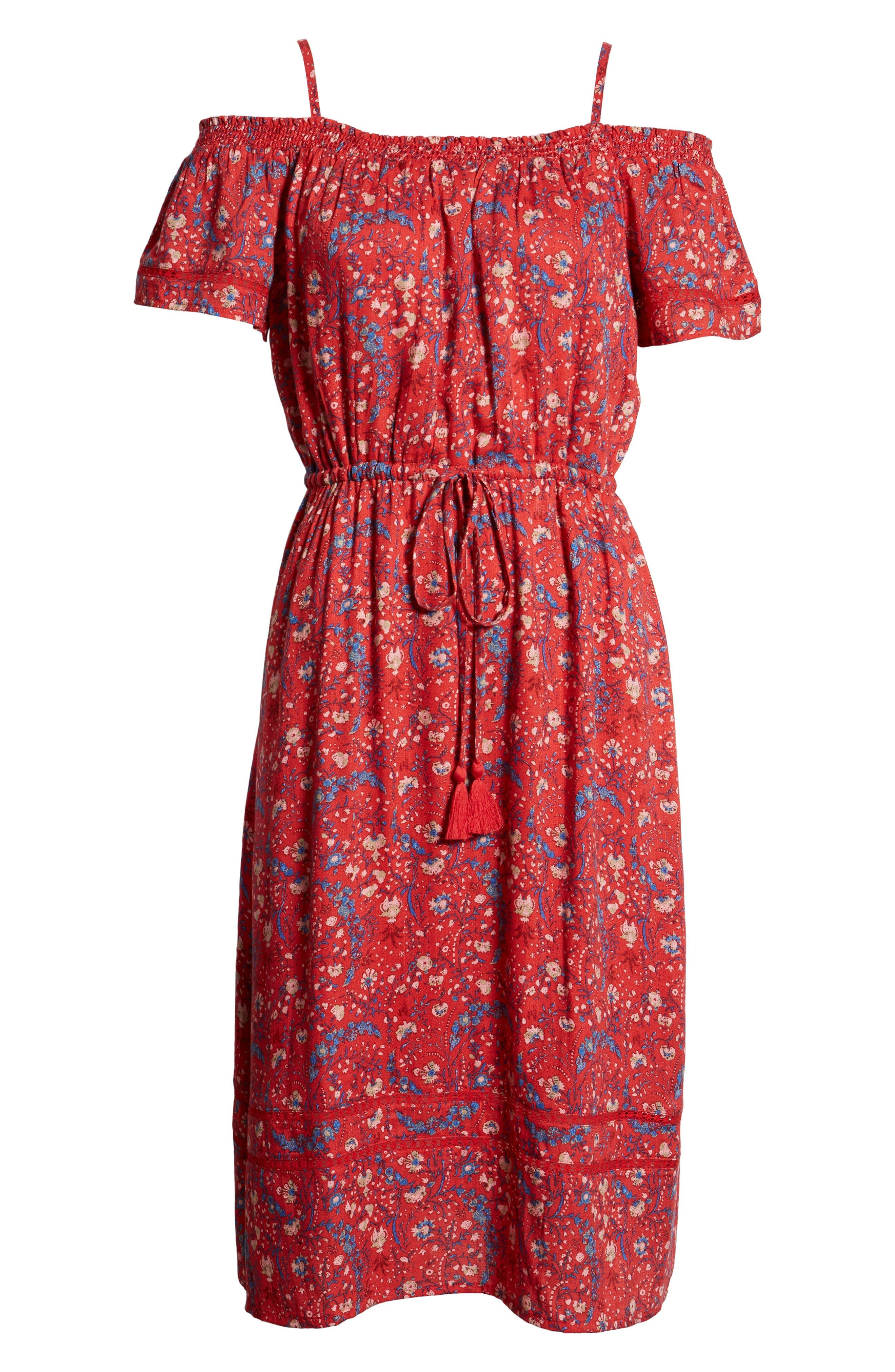 Off the Shoulder Floral Dress,                             Alternate thumbnail 6, color,                             Red Multi