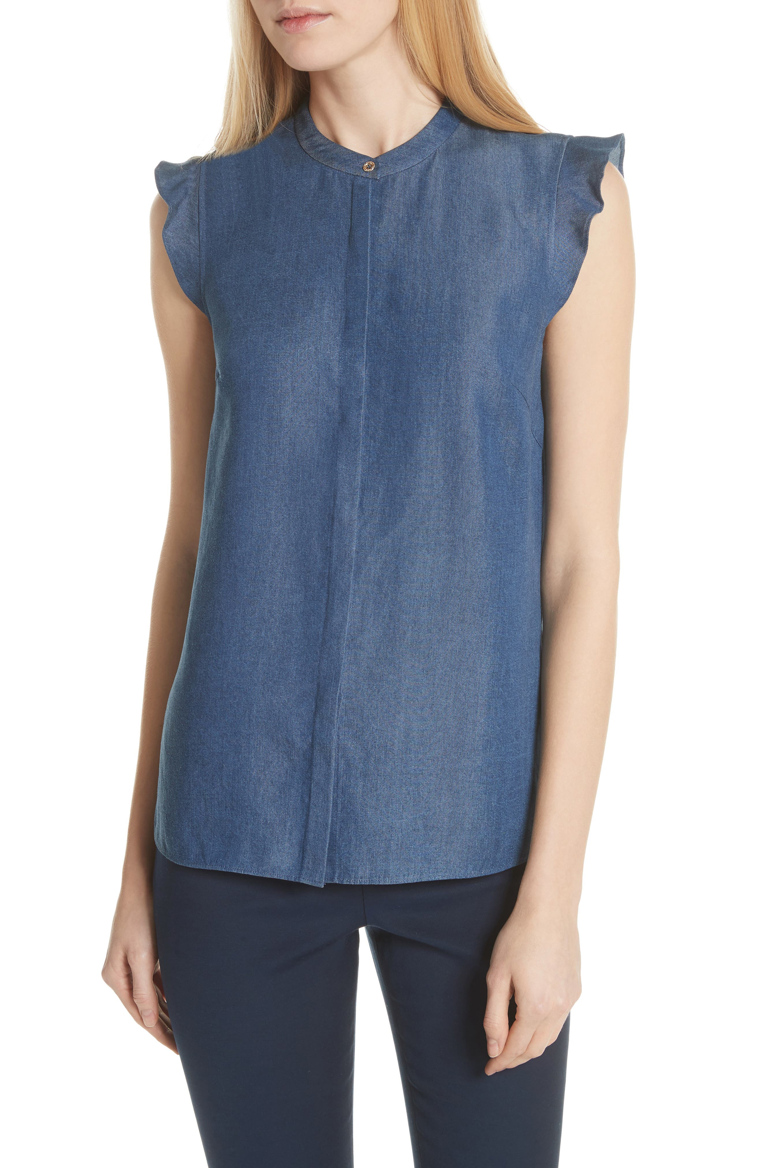 Colour by Numbers Denim Top,                             Main thumbnail 1, color,                             Mid-Wash