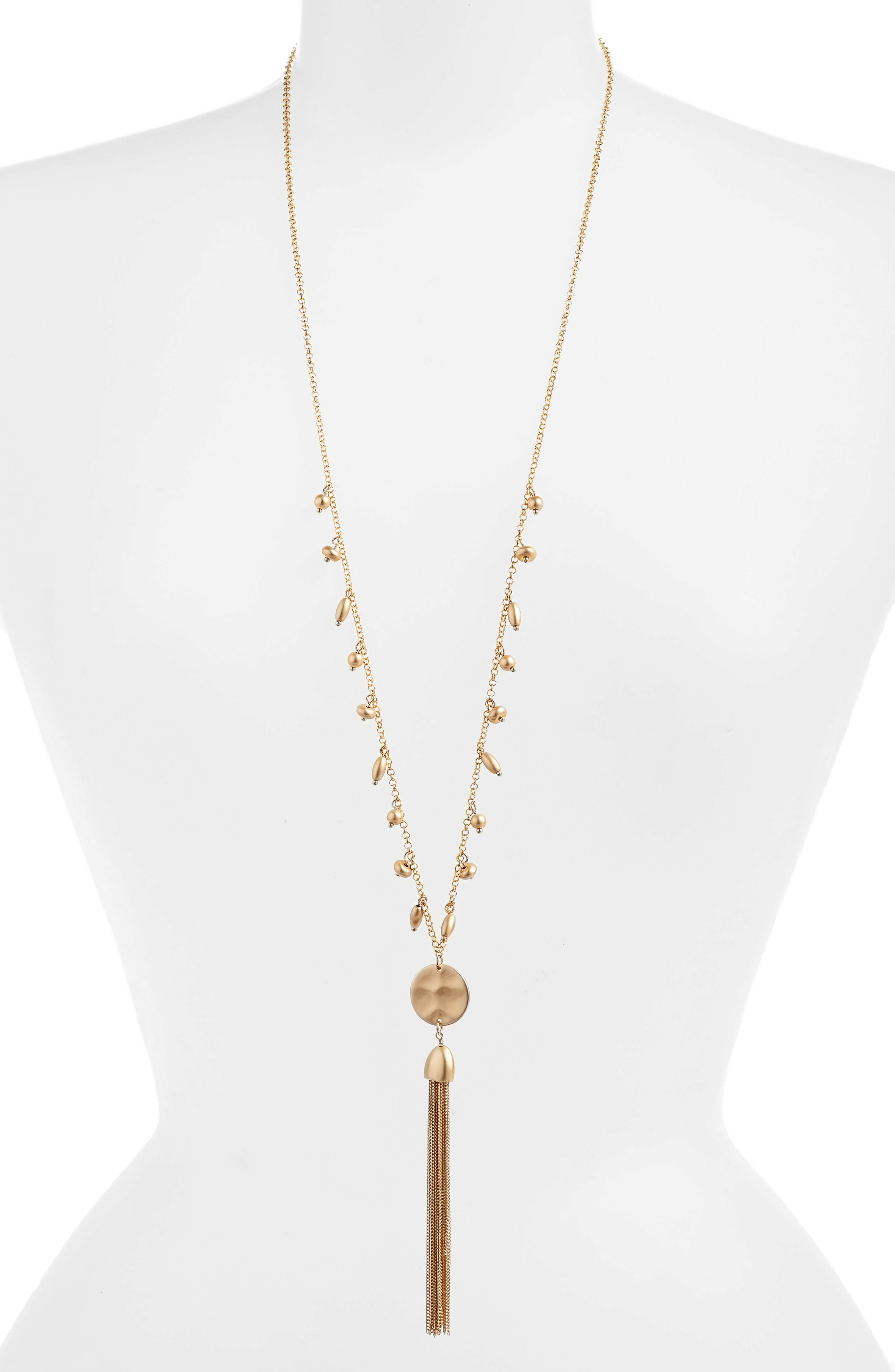 Disc Tassel Pendant Necklace,                         Main,                         color, Gold