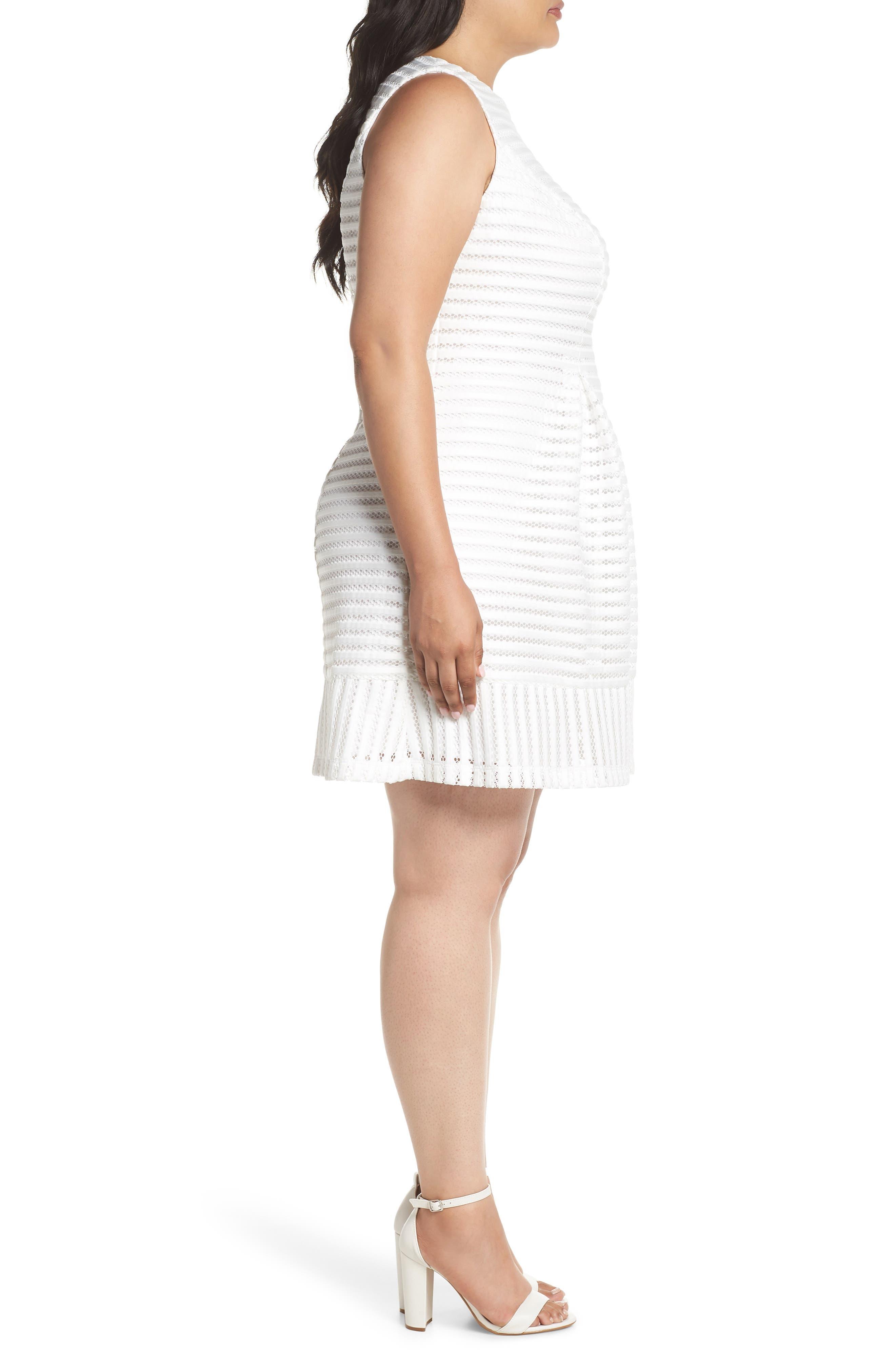 Mesh Stripe Pleated A-Line Dress,                             Alternate thumbnail 3, color,                             Ivory