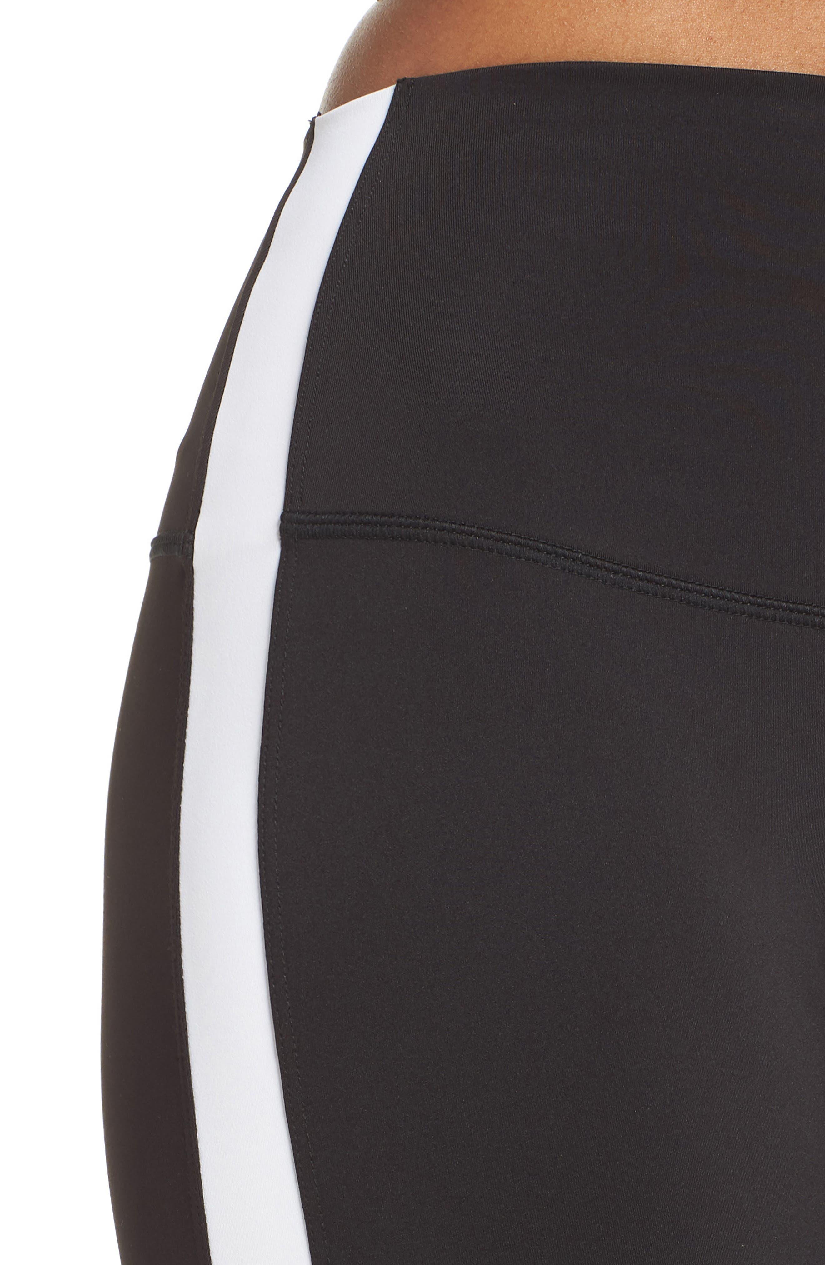 Rose High Waist Capri Leggings,                             Alternate thumbnail 4, color,                             Black/ Off White