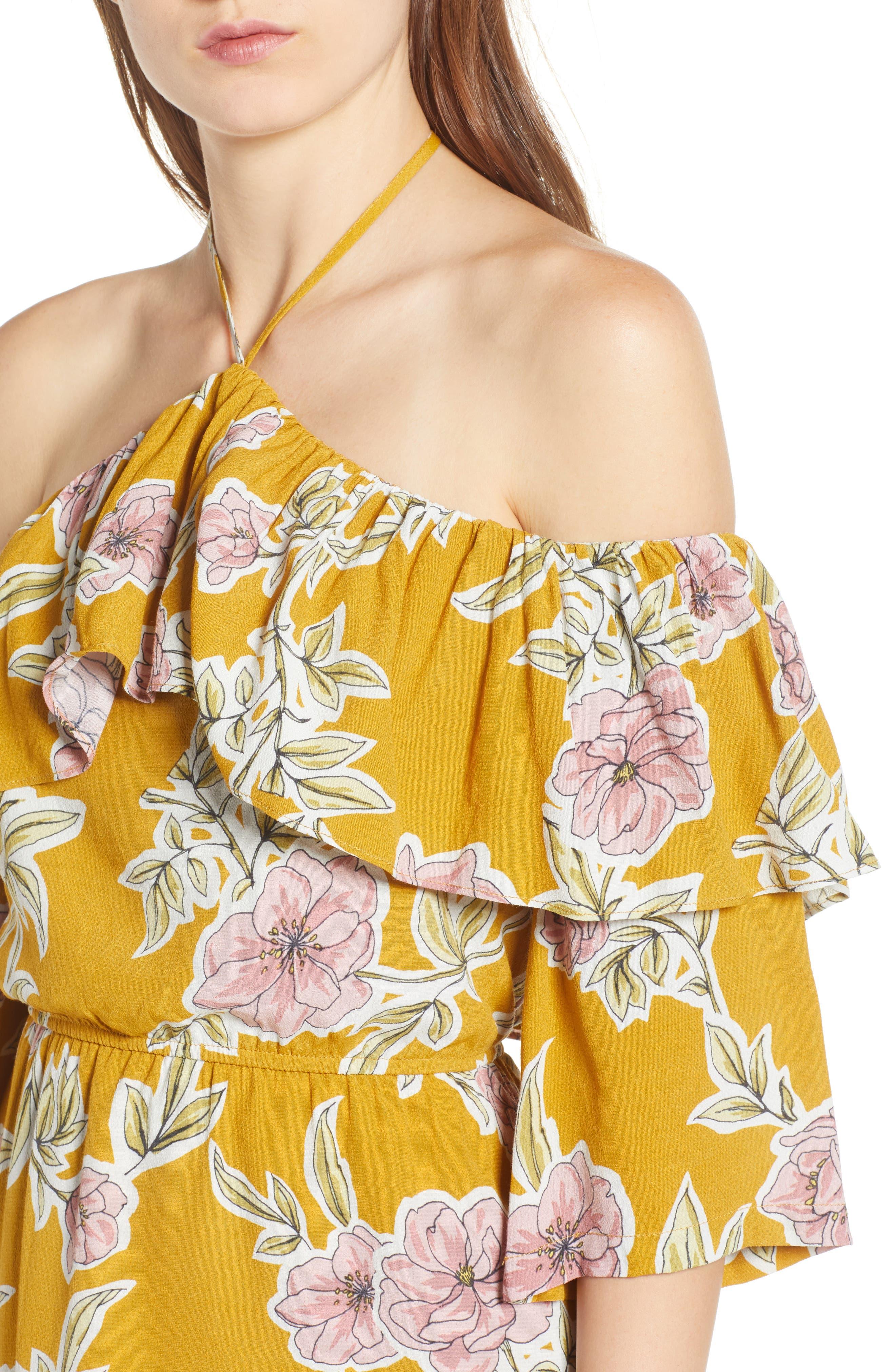 Fonda Cold Shoulder Halter Dress,                             Alternate thumbnail 4, color,                             Yellow Gold