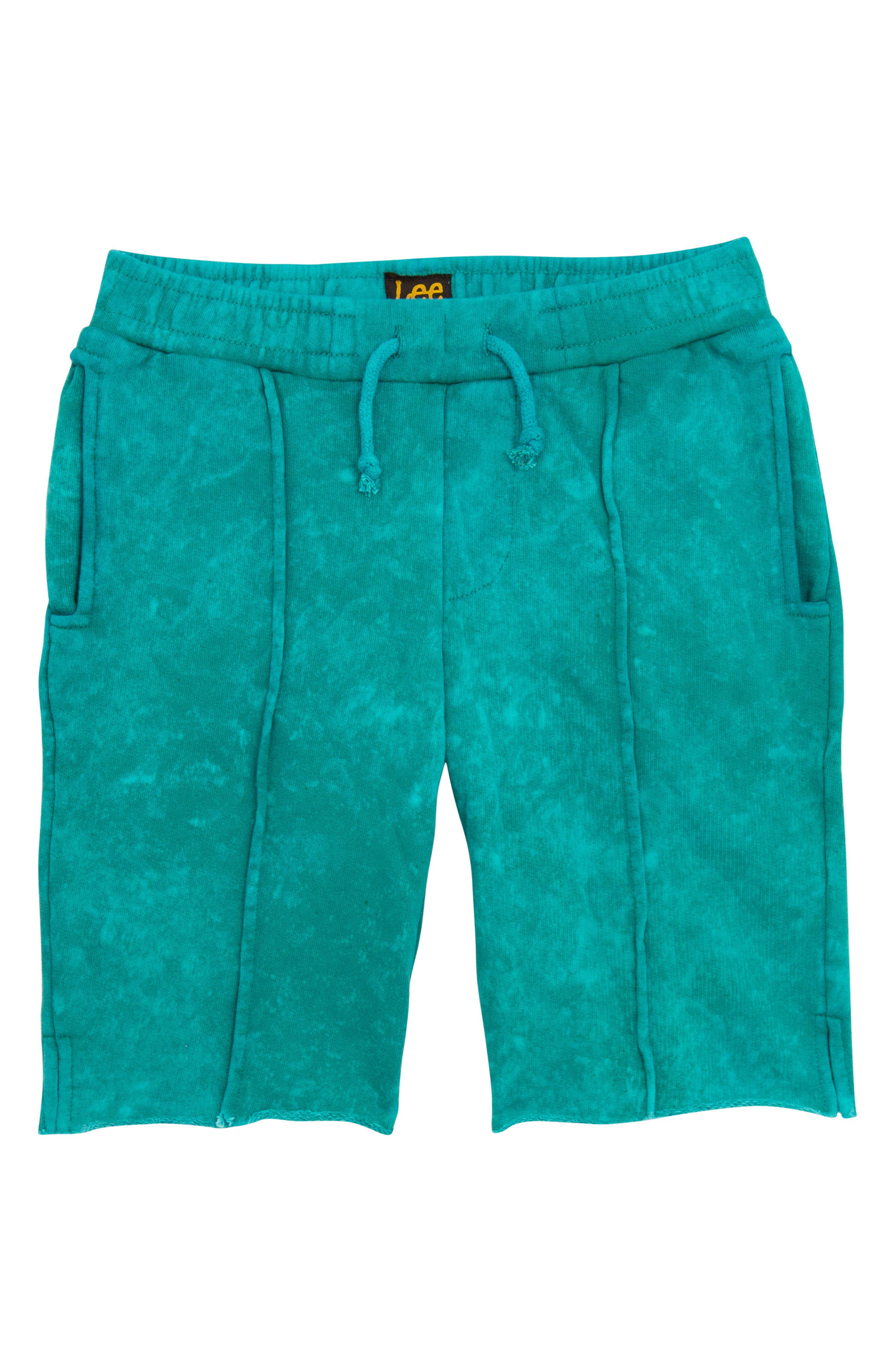 Acid Wash Pull-On Denim Shorts,                             Main thumbnail 1, color,                             Turquoise
