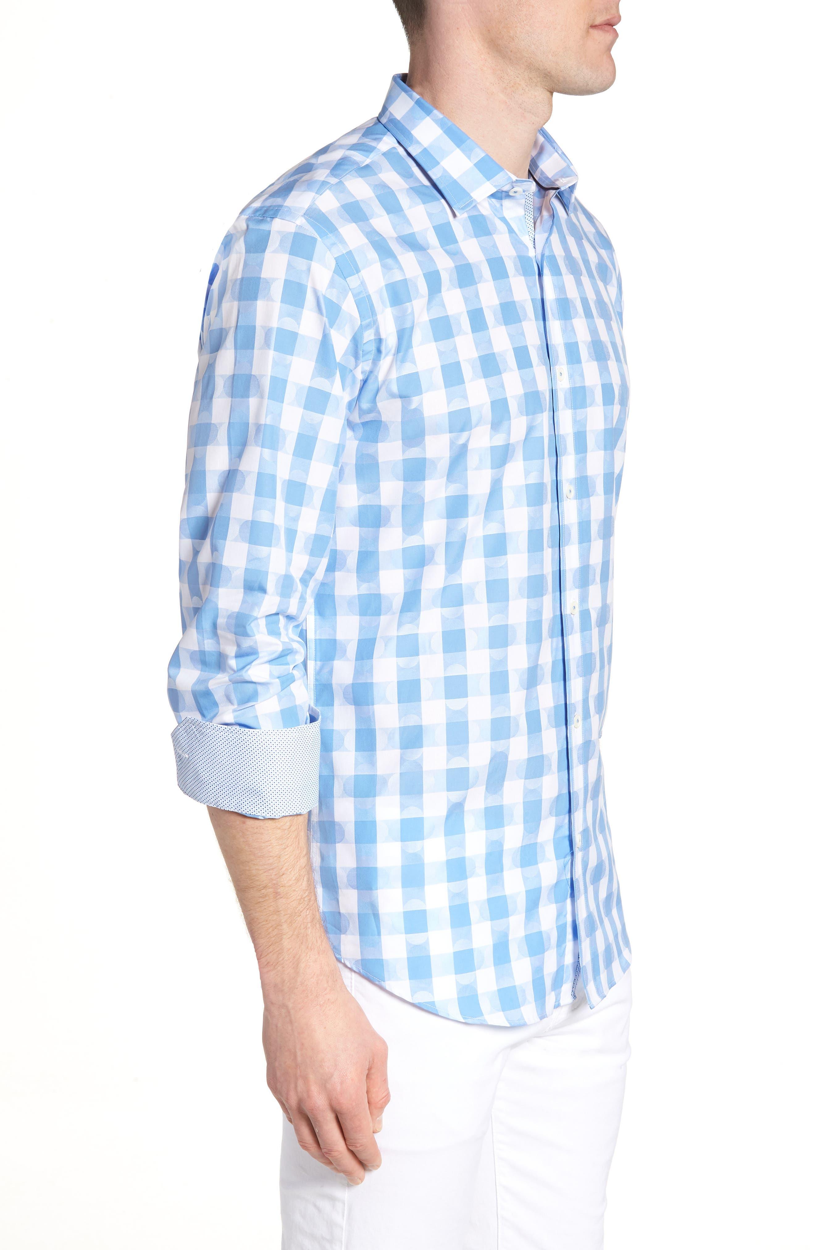 Shaped Fit Jacquard Gingham Sport Shirt,                             Alternate thumbnail 4, color,                             Classic Blue