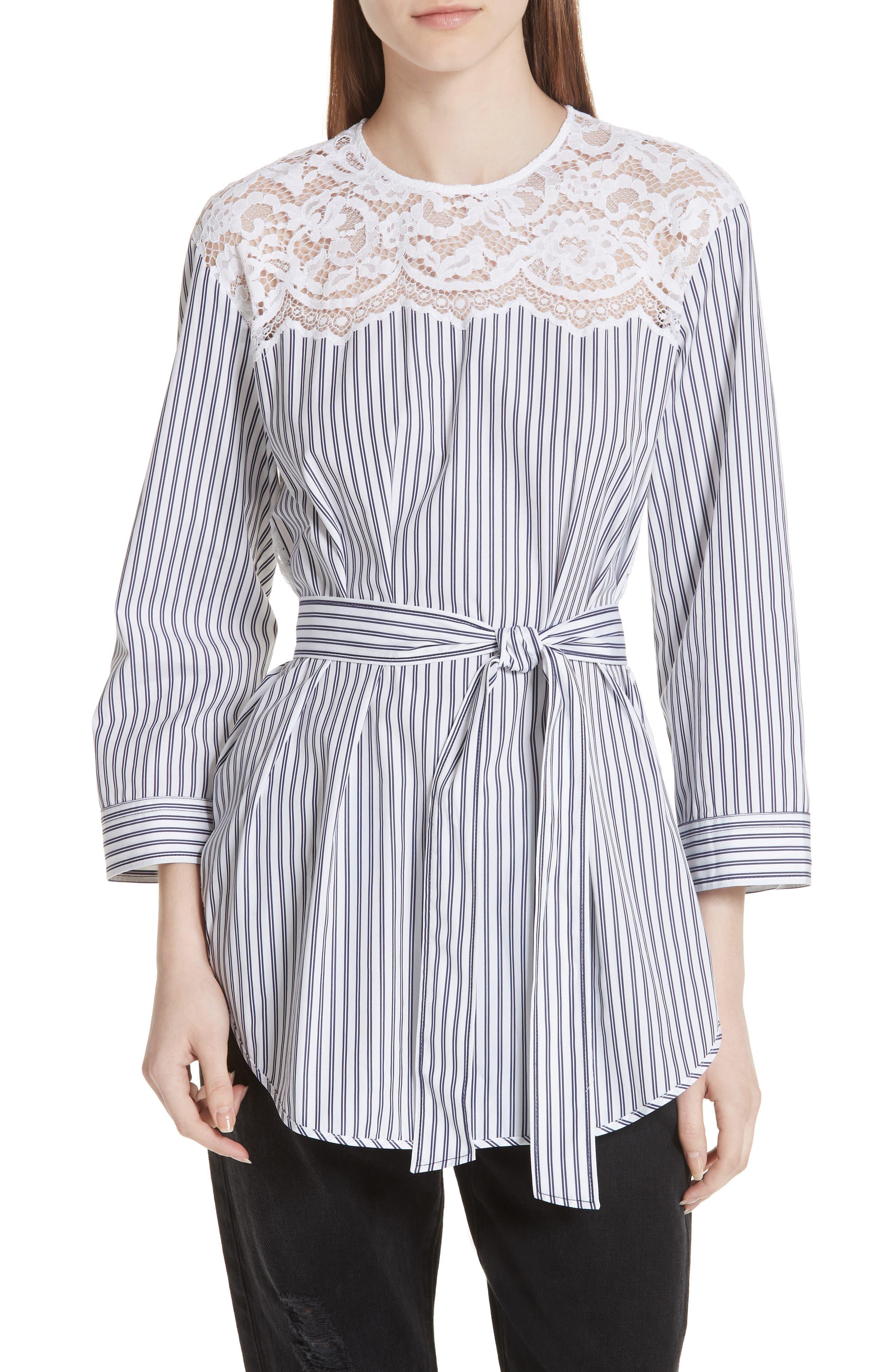sandro Blanc Lace Detail Stripe Cotton Tunic Top
