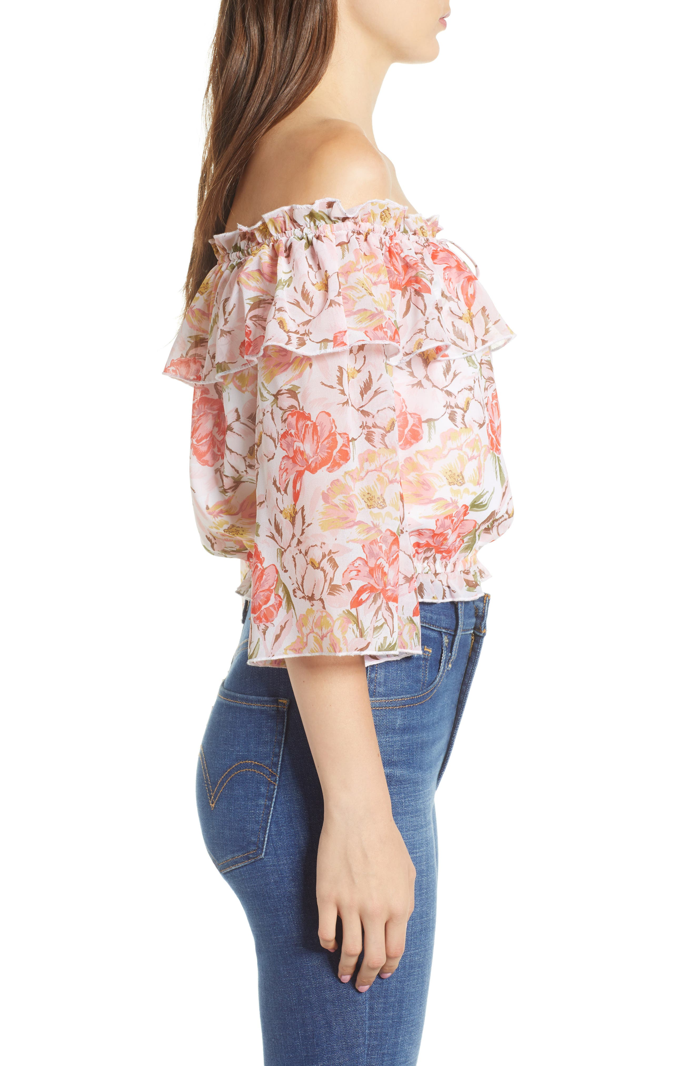 Cosenza Off the Shoulder Crop Top,                             Alternate thumbnail 3, color,                             Ivory Floral