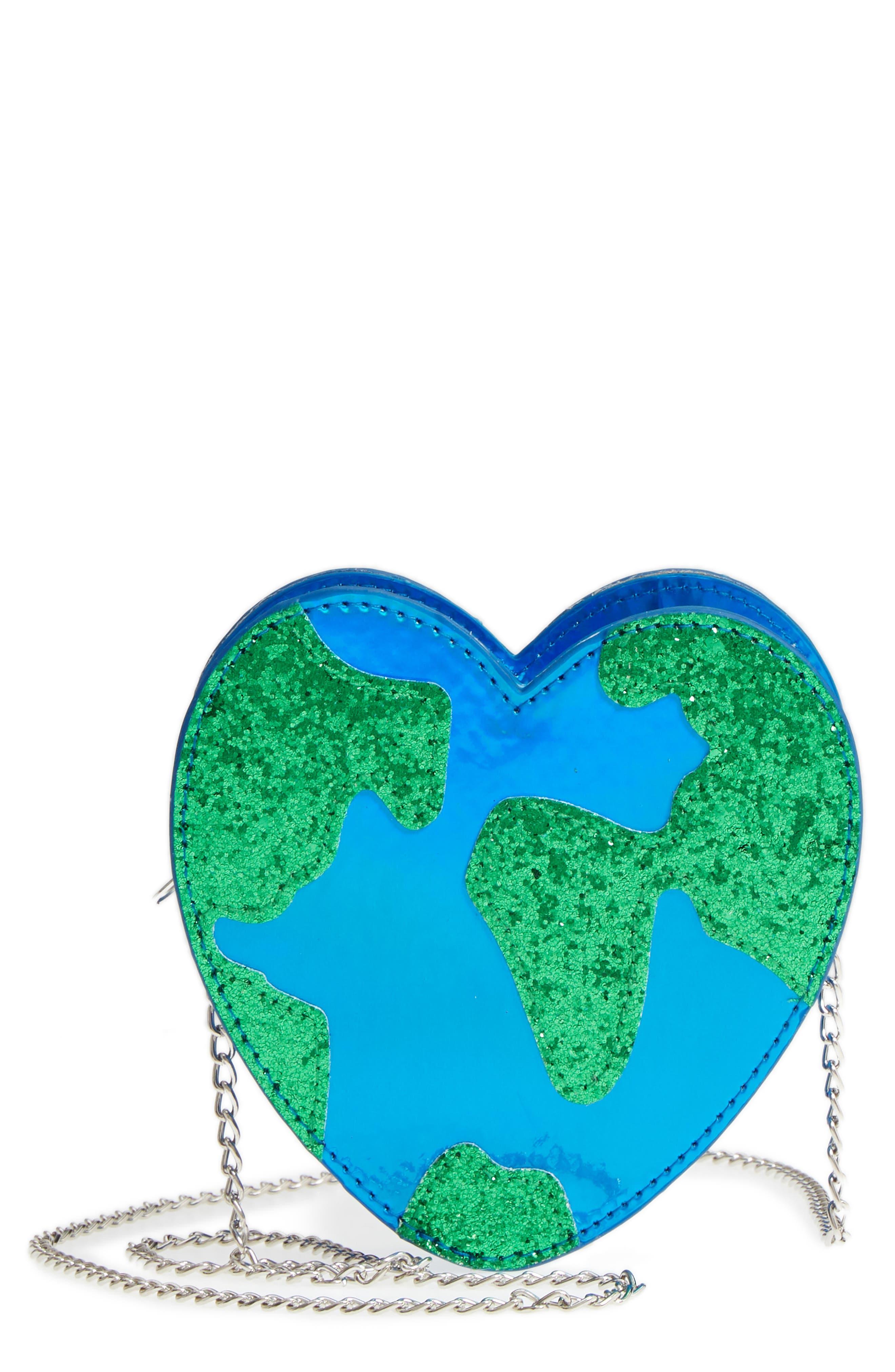 Heart Earth Crossbody Bag,                             Main thumbnail 1, color,                             Blue Combo