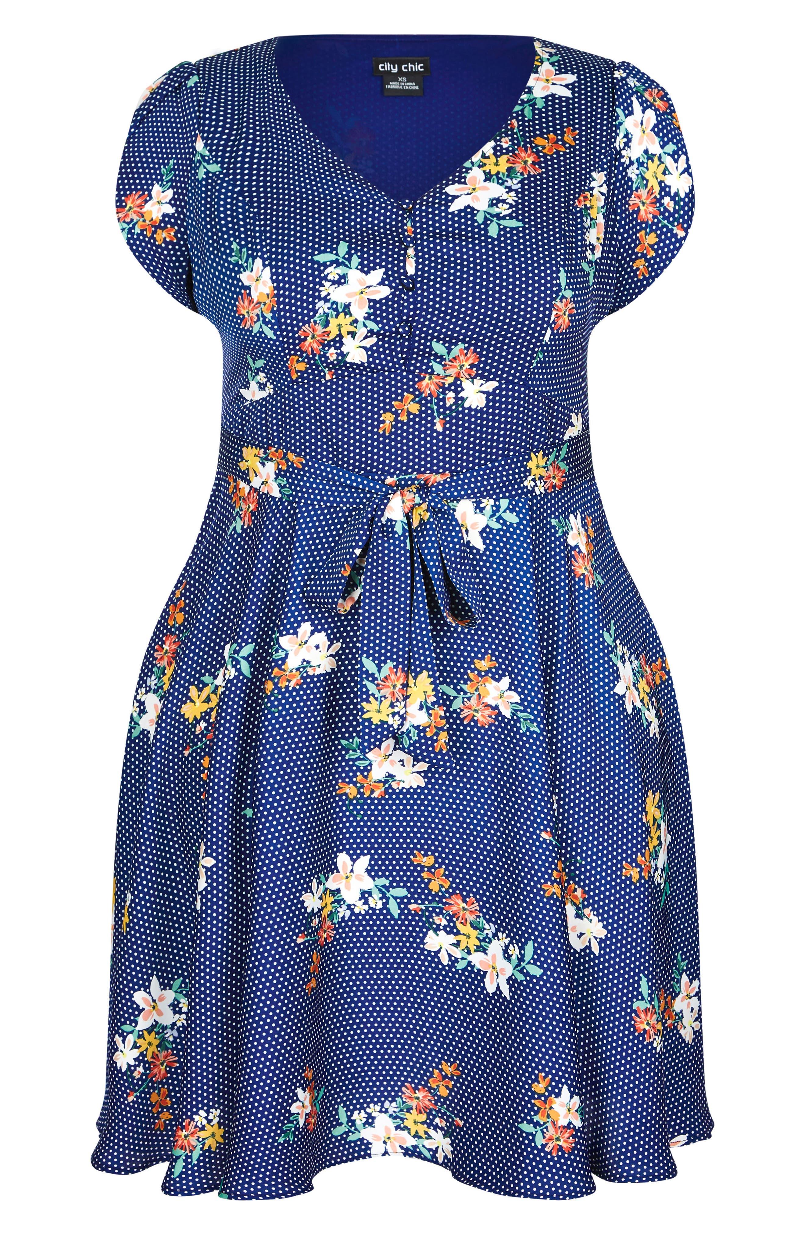 Sweet Spot Floral Fit & Flare Dress,                             Alternate thumbnail 3, color,                             Spot The Floral