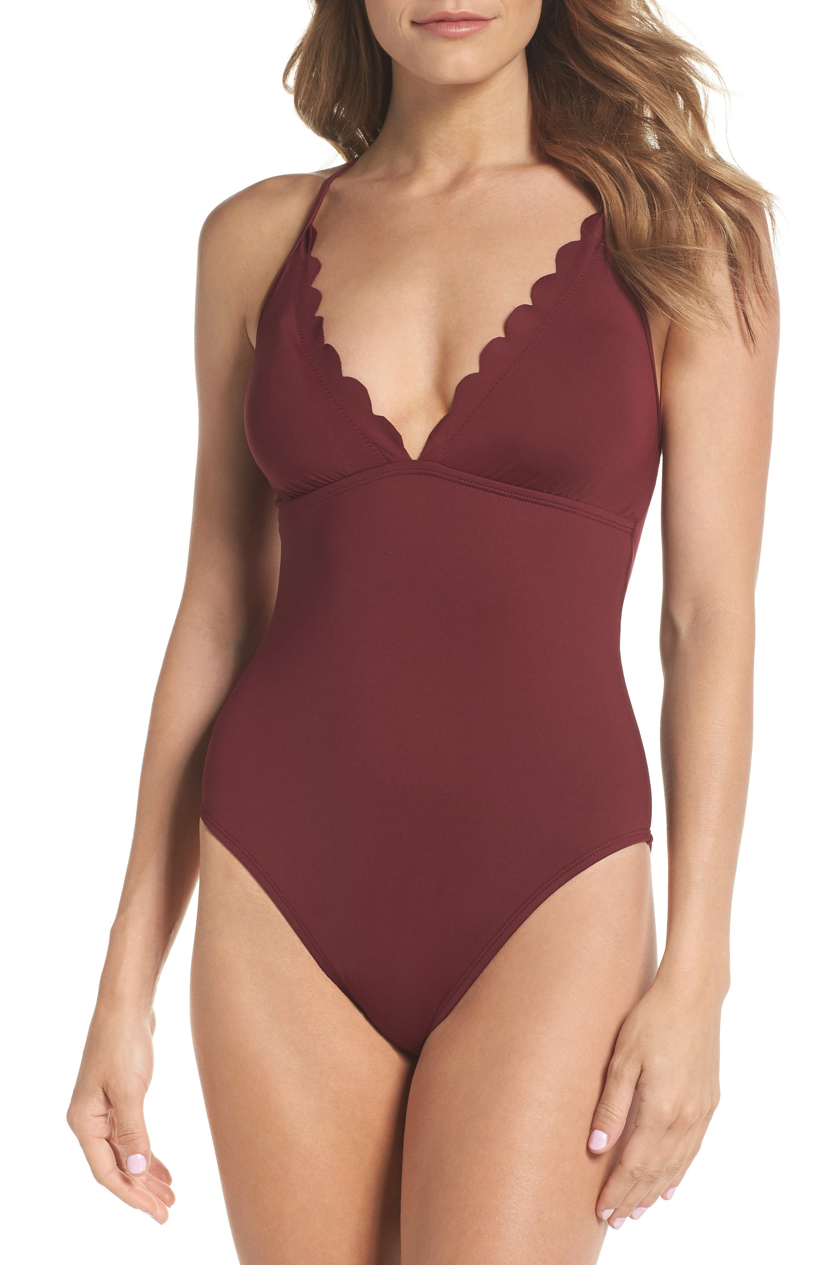Petal Pusher One-Piece Swimsuit,                             Main thumbnail 1, color,                             Mahogany