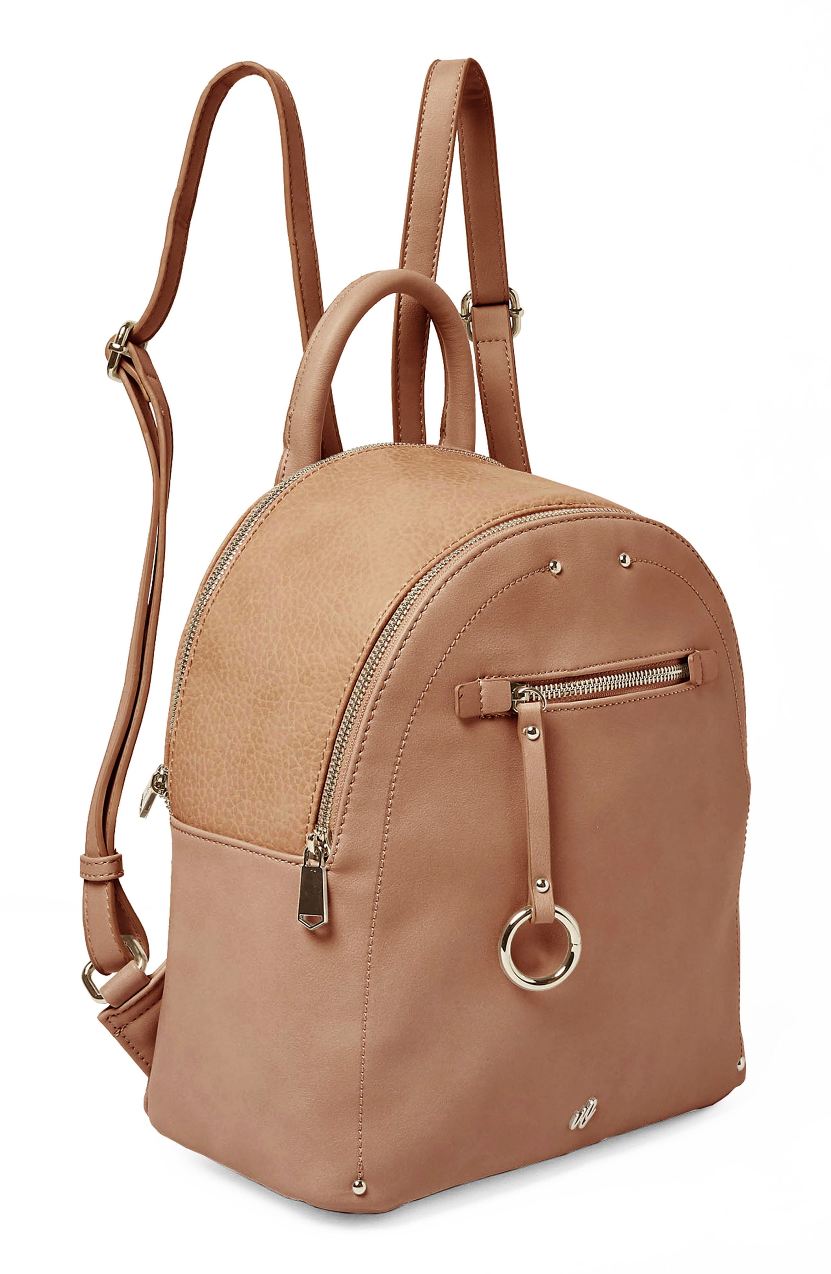 Into the Night Vegan Leather Backpack,                             Alternate thumbnail 4, color,                             Latte
