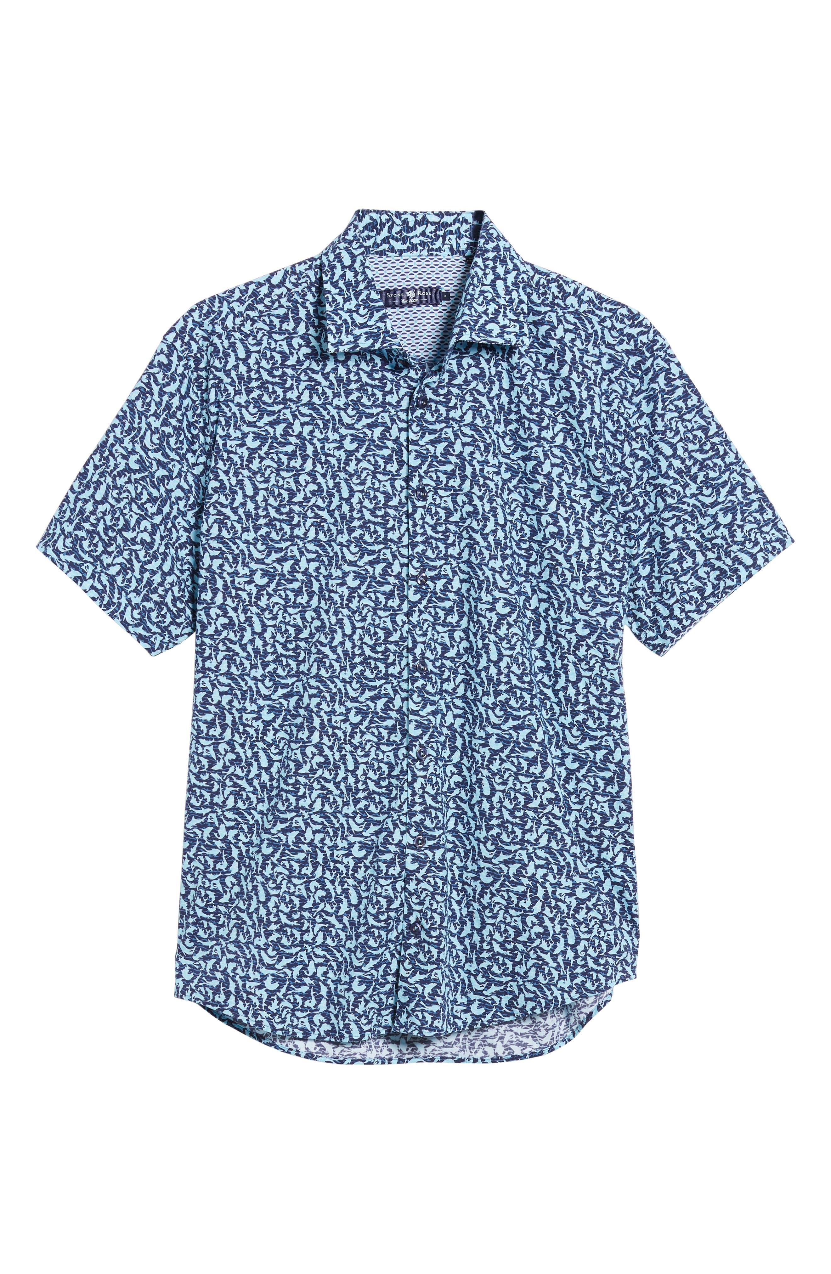 Slim Fit Shark Print Sport Shirt,                             Alternate thumbnail 6, color,                             Turquoise