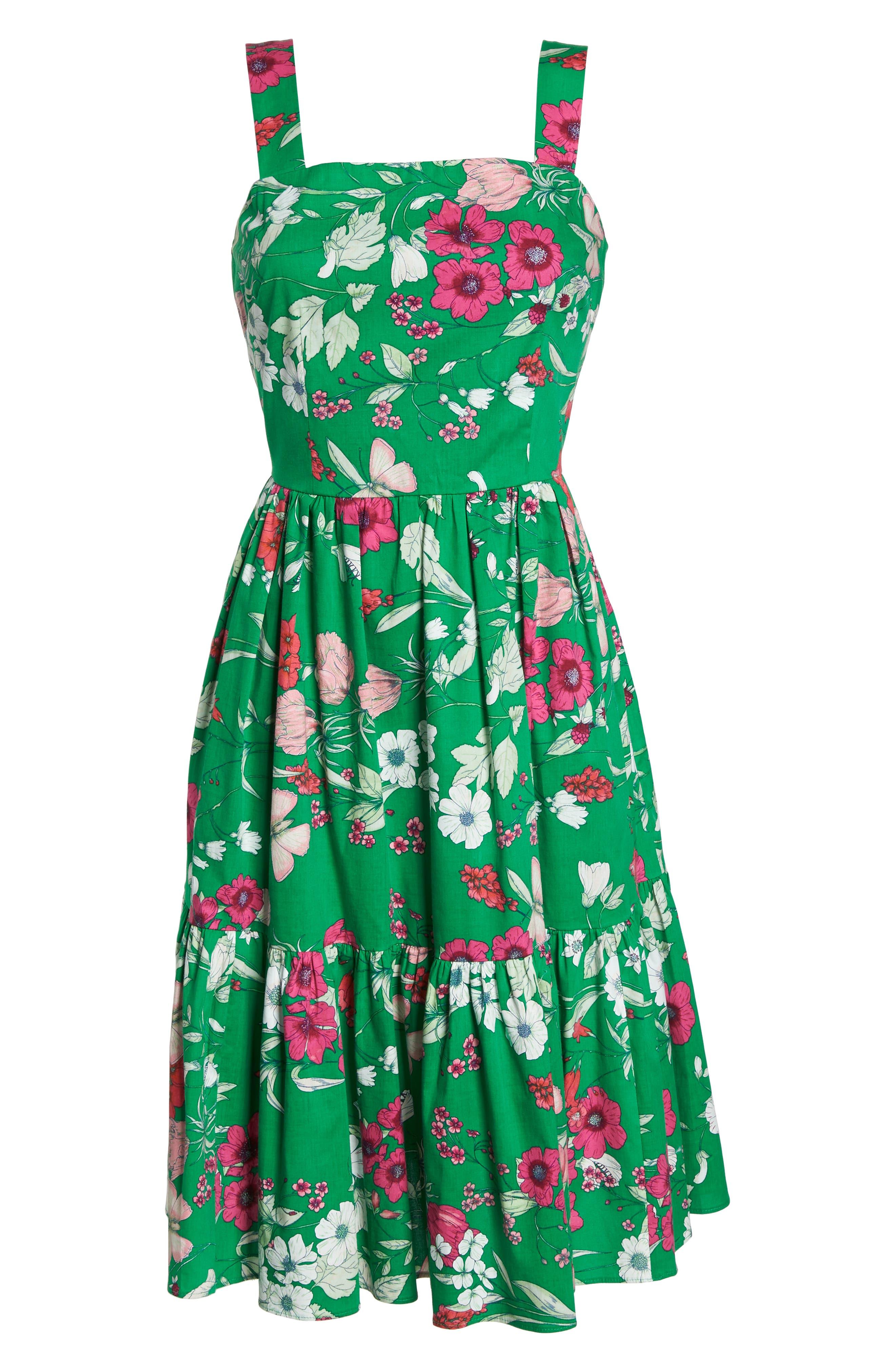 Ruffle Hem Cotton Fit & Flare Sundress,                             Alternate thumbnail 7, color,                             Green