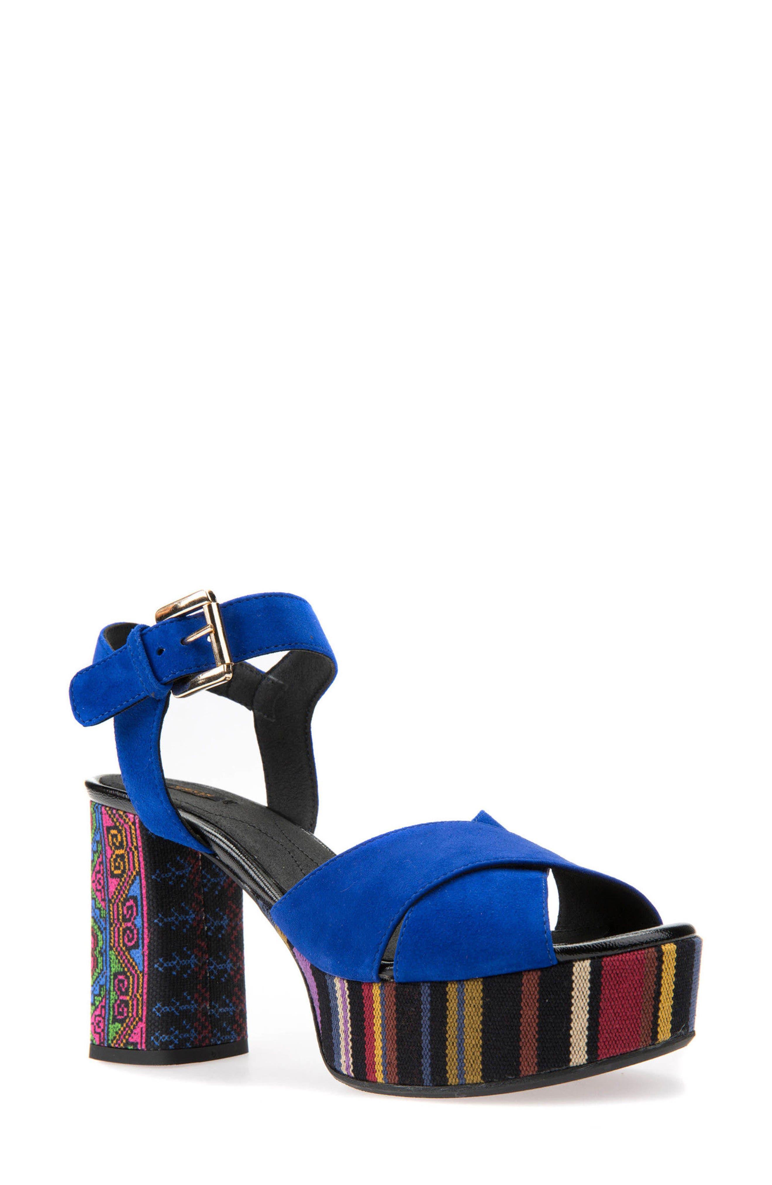 Galene 3 Platform Sandal,                             Main thumbnail 1, color,                             Royal Suede