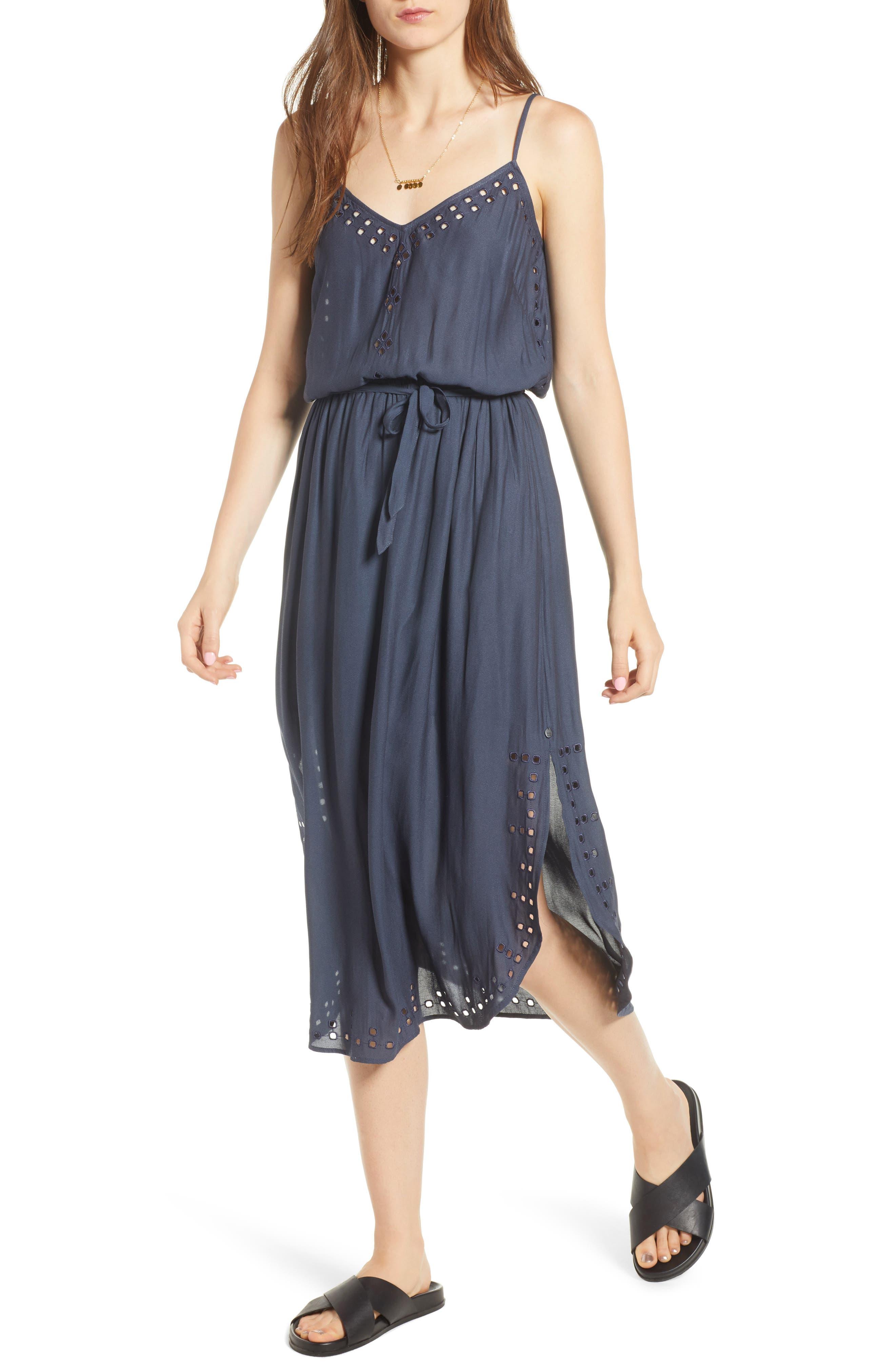 Strappy Cutout Midi Dress,                             Main thumbnail 1, color,                             Night