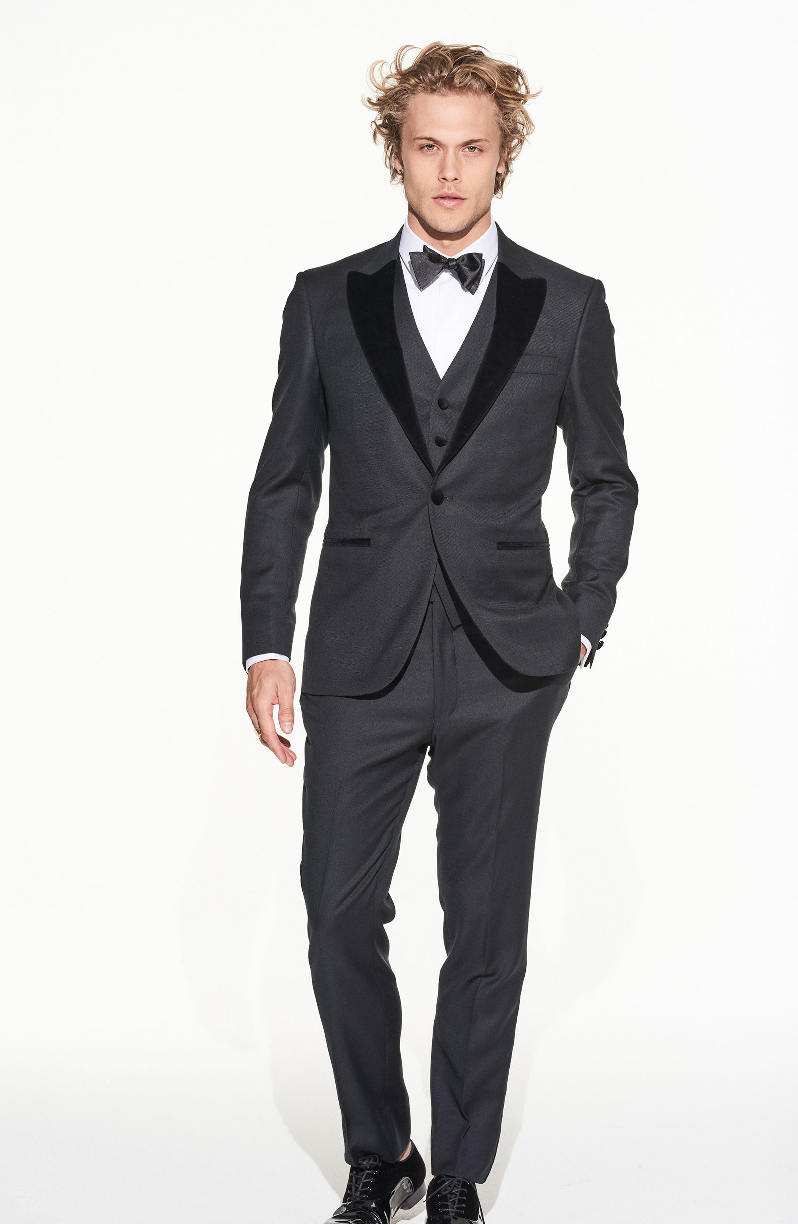 by Ilaria Urbinati Teddy Slim Fit Three-Piece Wool Tuxedo,                             Alternate thumbnail 2, color,                             Textured Black