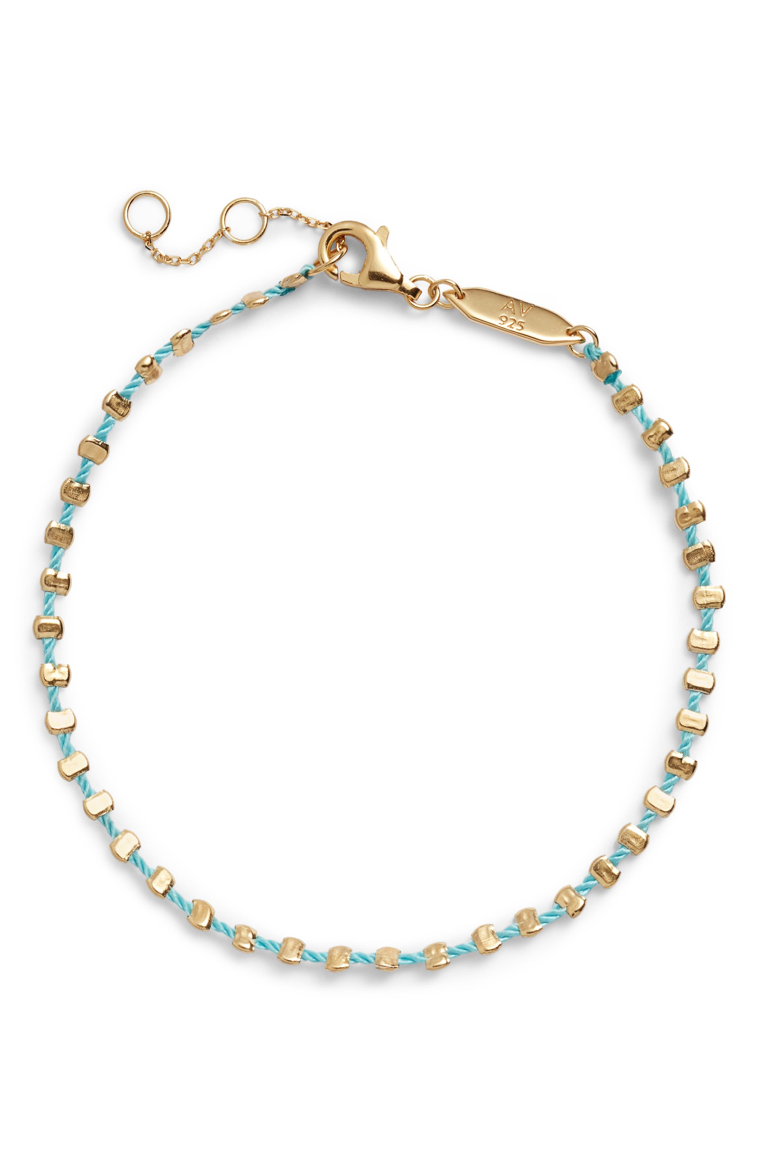 Argento Vivo Sydney Vermeil Studded Teal Band Bracelet