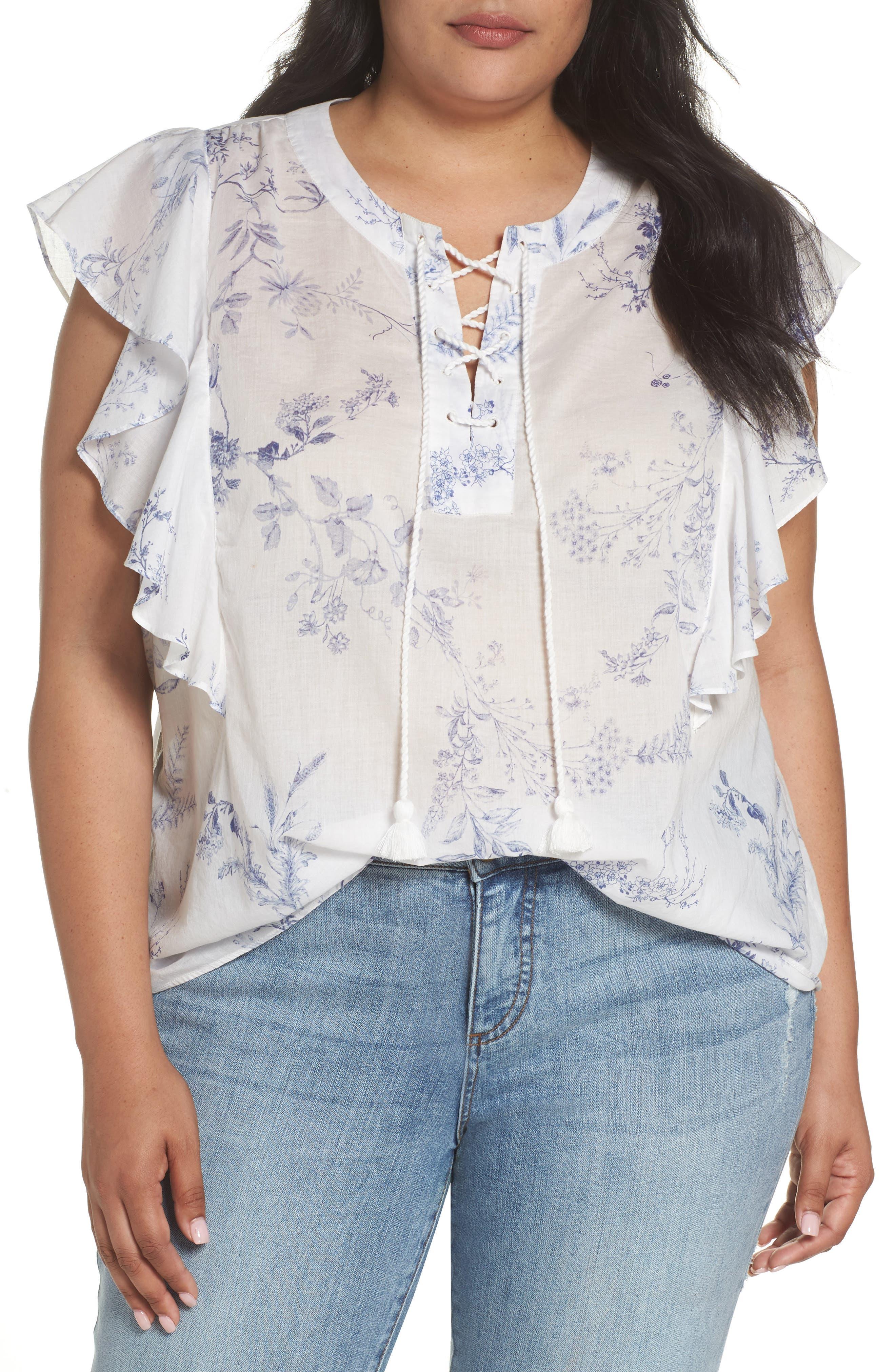 Caslon® Flounce Sleeve Lace-Up Blouse (Plus Size)