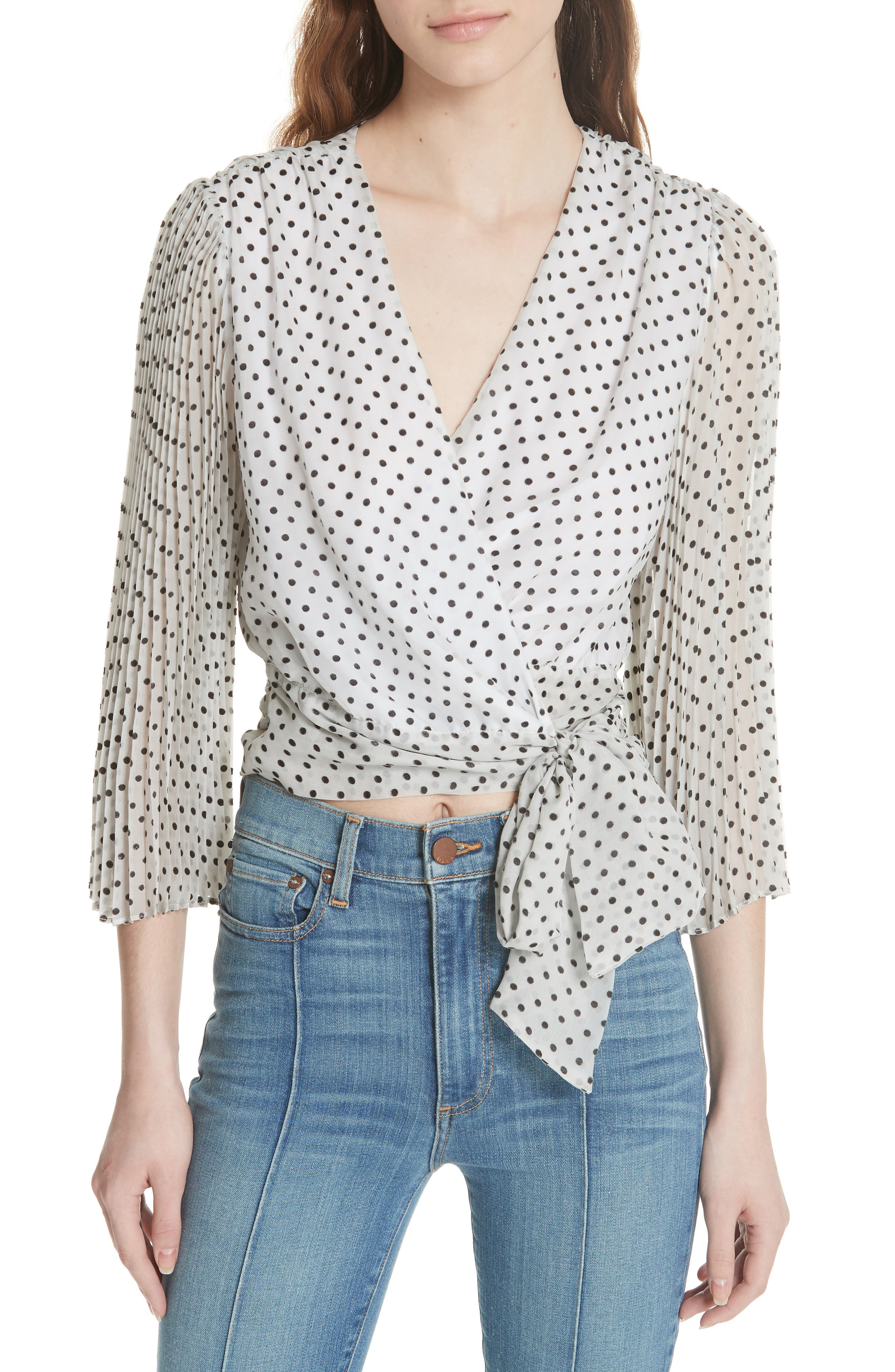 Bray Dot Pleated Sleeve Wrap Top,                         Main,                         color, Soft White Mono Dot