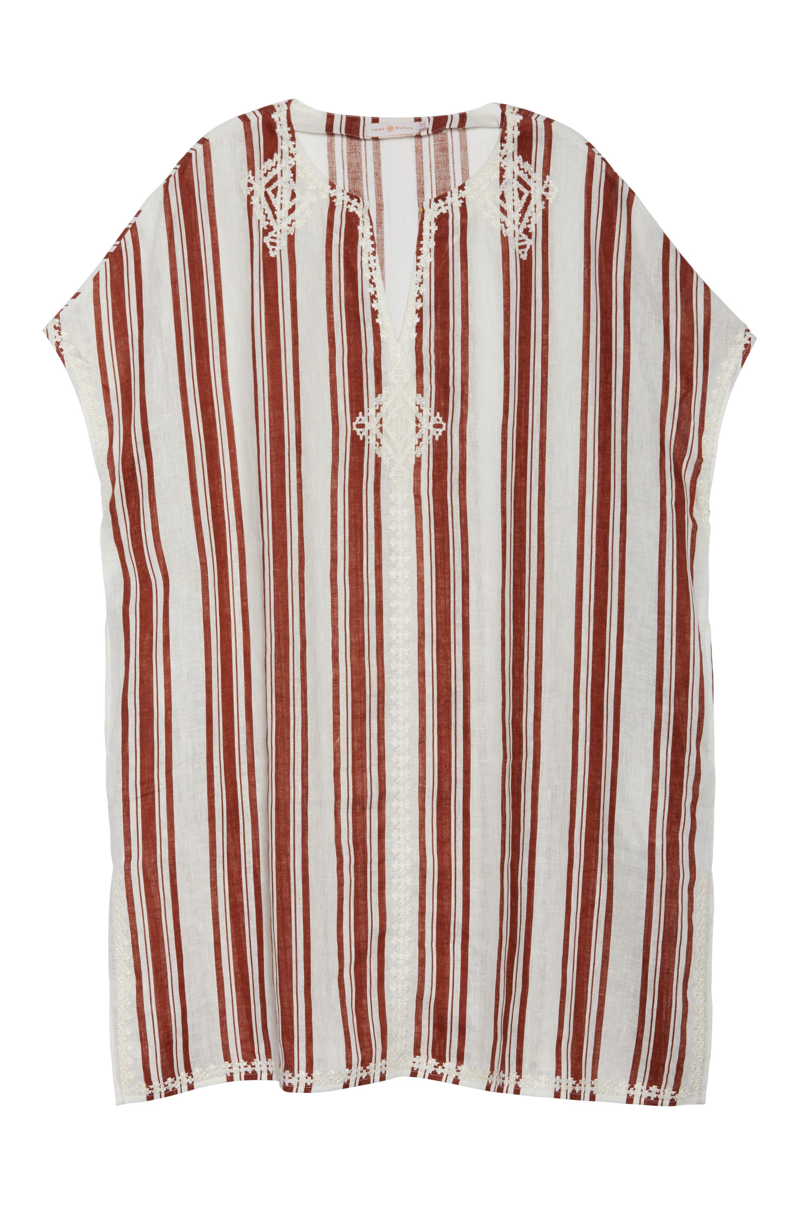 Alcott Beach Linen Cover-Up Caftan,                             Alternate thumbnail 6, color,                             New Ivory / Desert Stripe