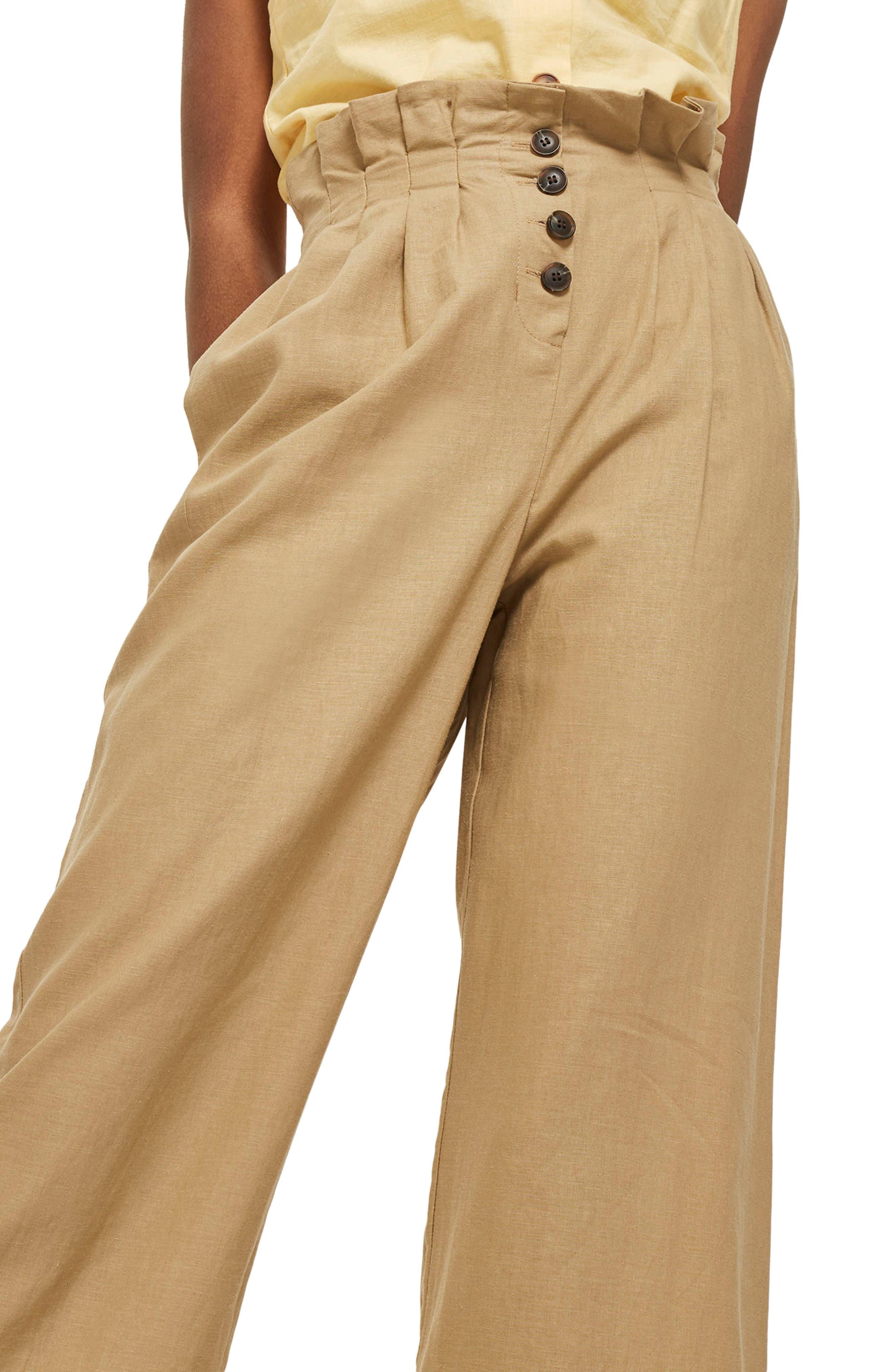 Button Wide Leg Crop Trousers,                             Alternate thumbnail 3, color,                             Stone