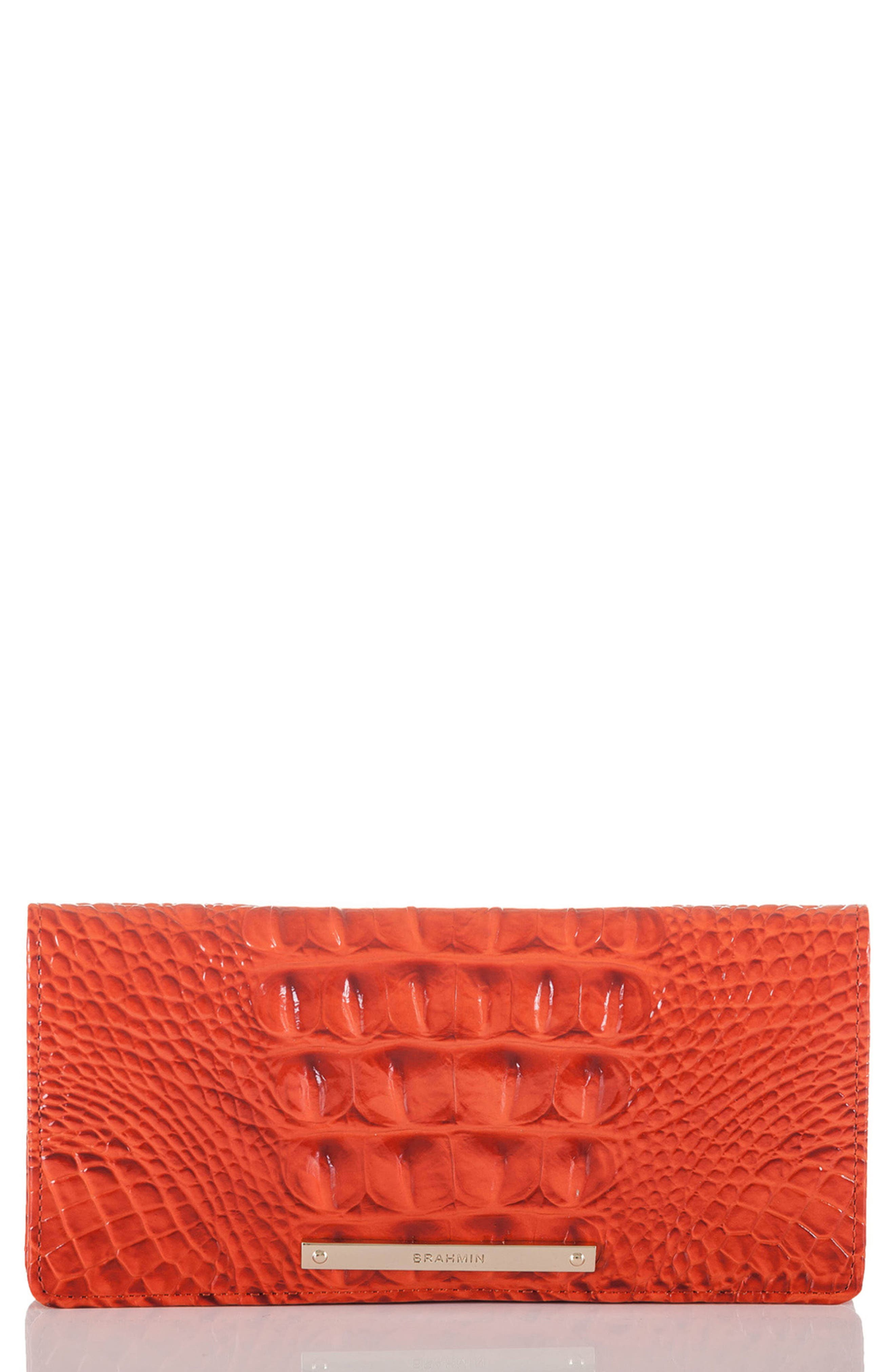 'Ady' Croc Embossed Continental Wallet,                         Main,                         color, Amaryllis