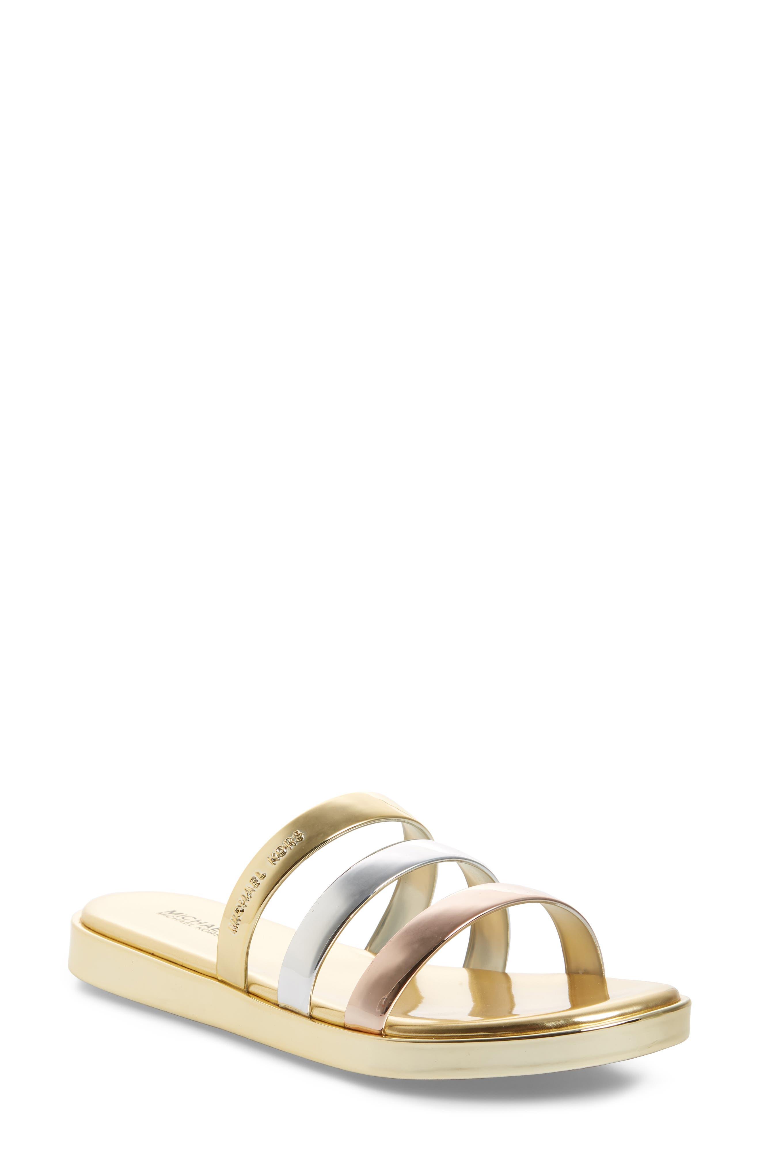 Keiko Triple-Band Slide Sandal,                             Main thumbnail 1, color,                             Gold/ Silver
