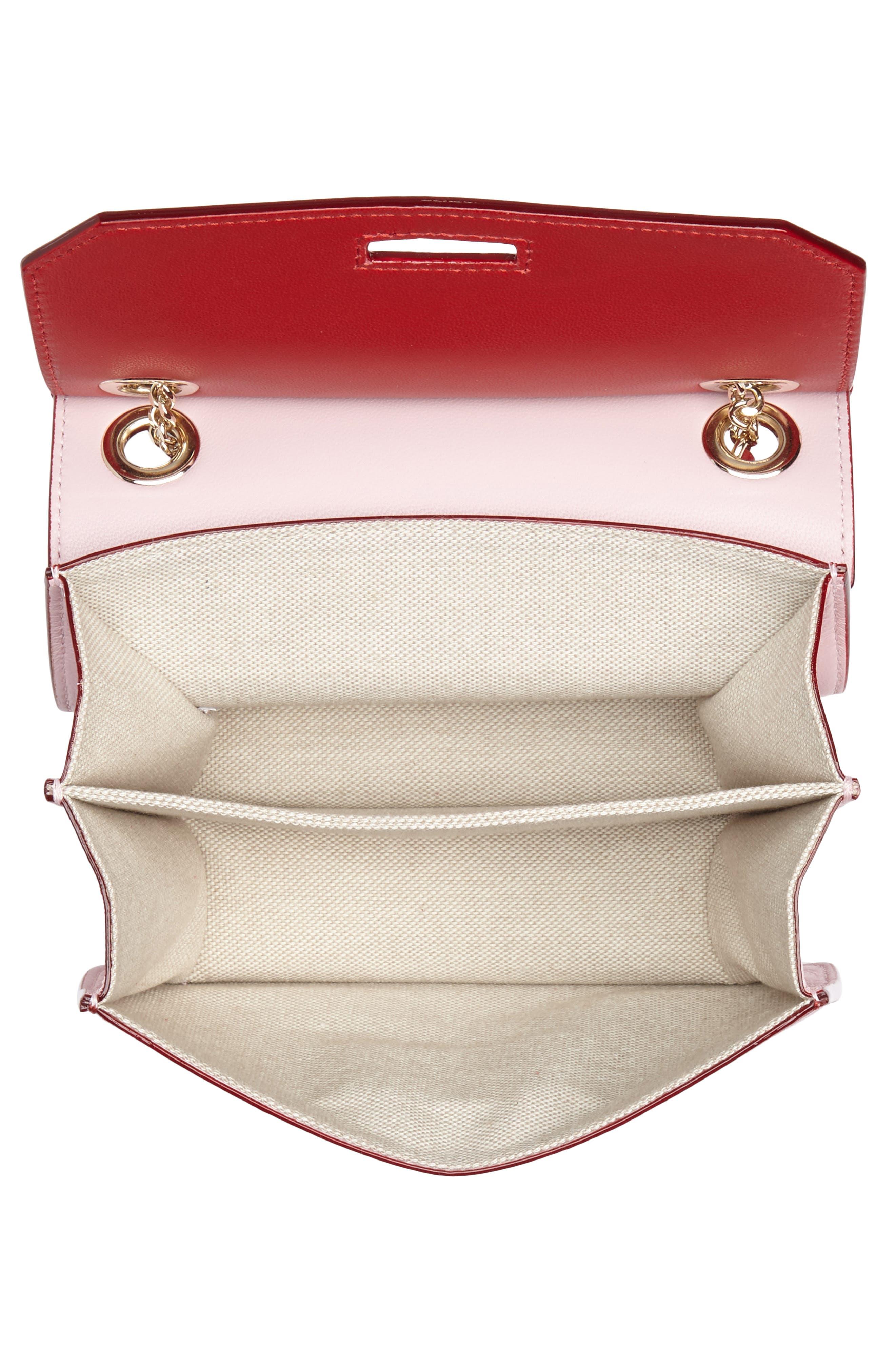 Rebel Mini Colorblock Leather Crossbody Bag,                             Alternate thumbnail 4, color,                             Red/ Rosewater