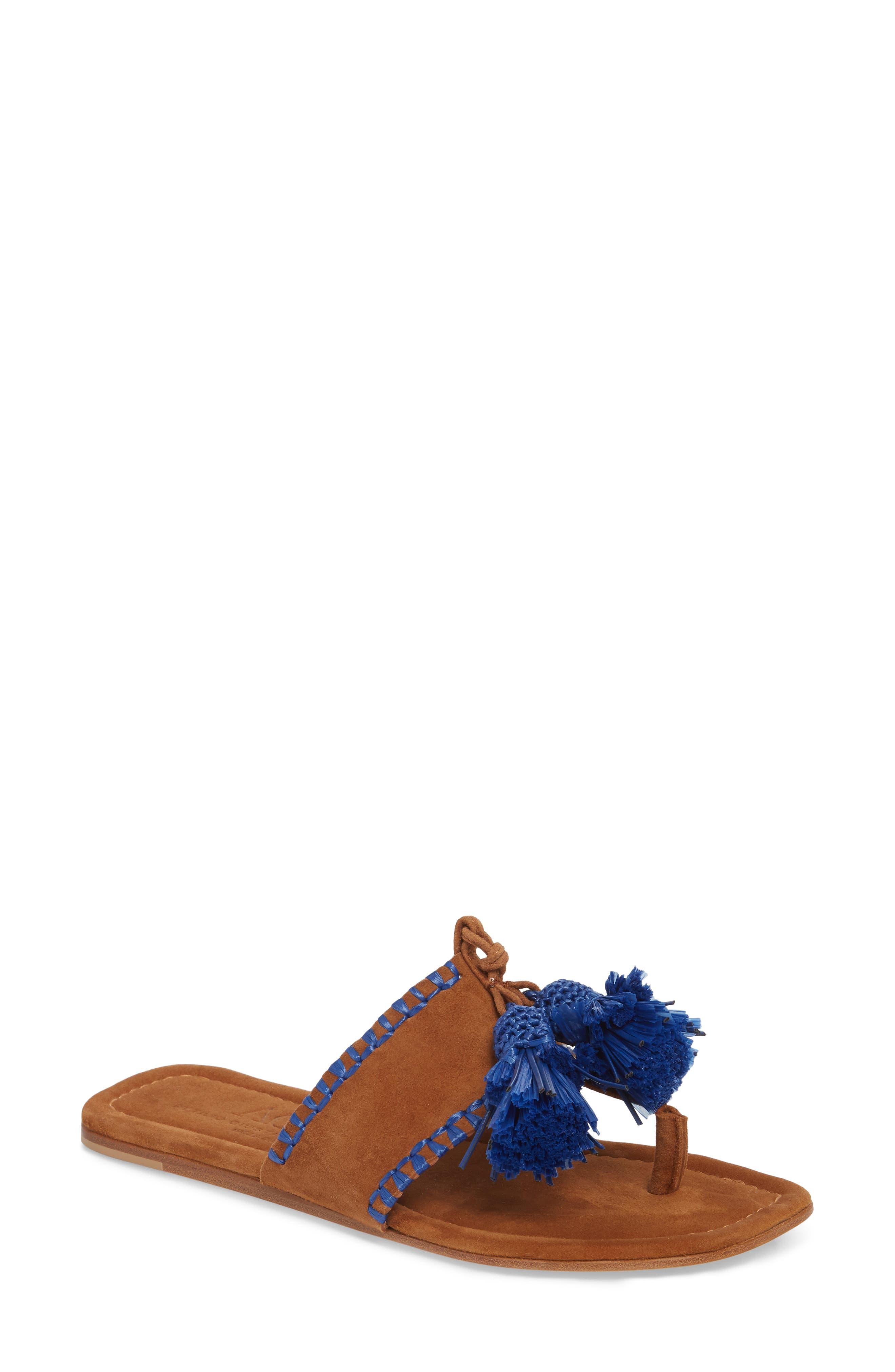 Raffia Tassel Sandal,                         Main,                         color, Cuoio Suede
