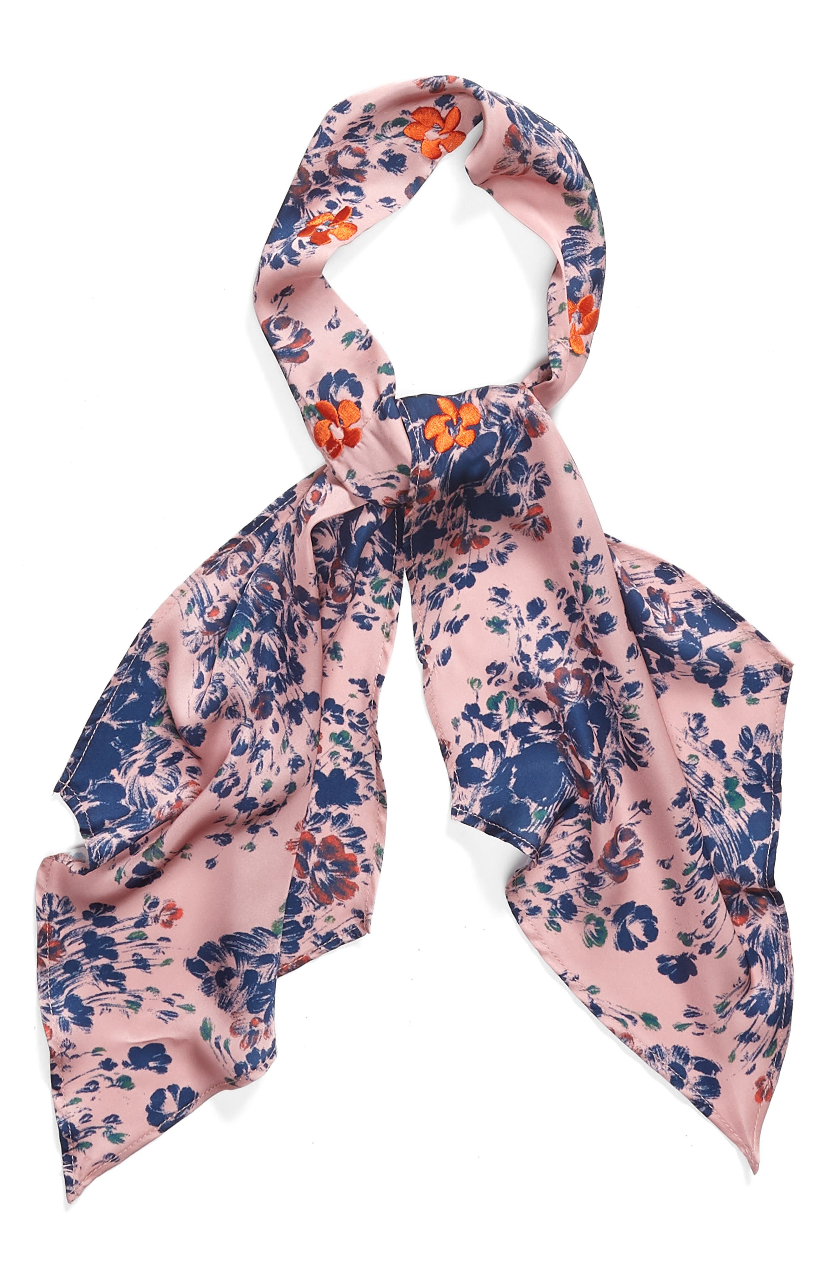 Print Short Tie Scarf,                             Alternate thumbnail 2, color,                             Pink Mini Moody Floral