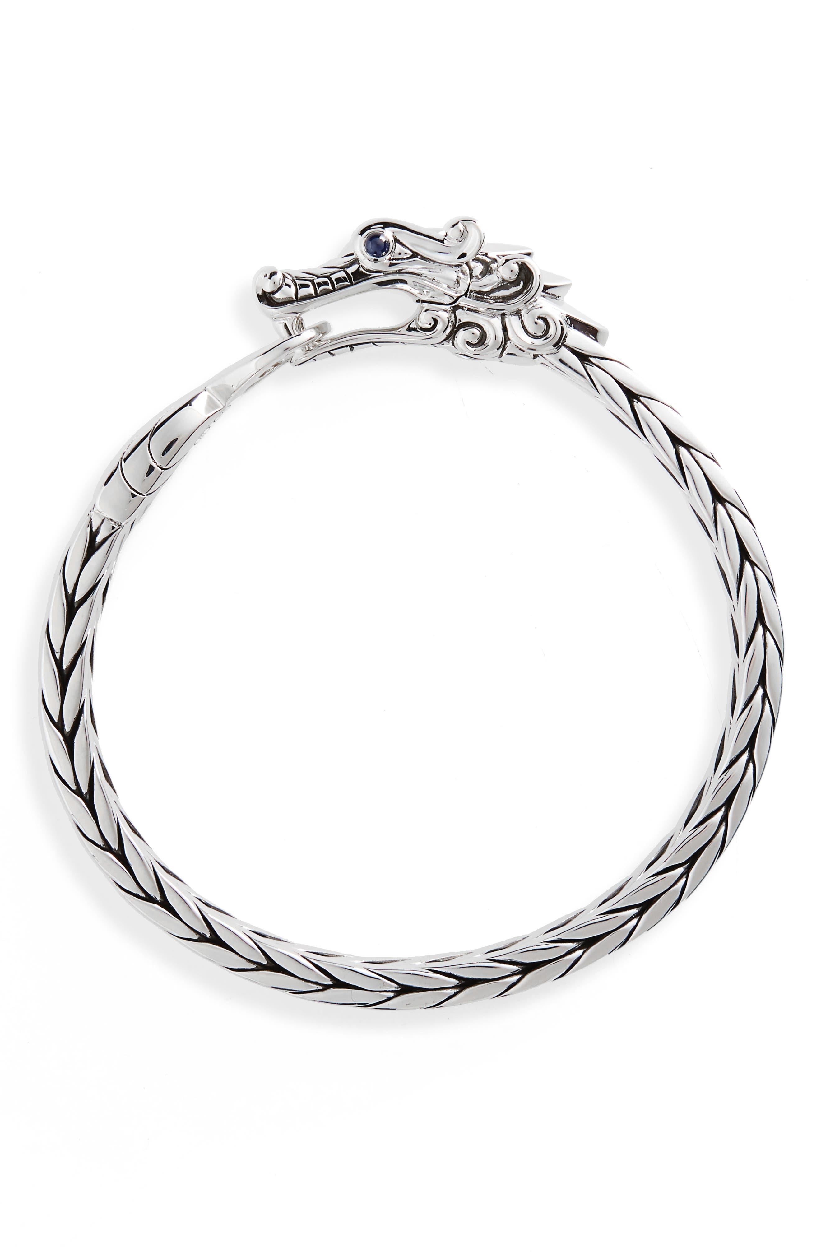 Legends Naga Sterling Silver Bracelet,                             Main thumbnail 1, color,                             Silver/ Blue Sapphire