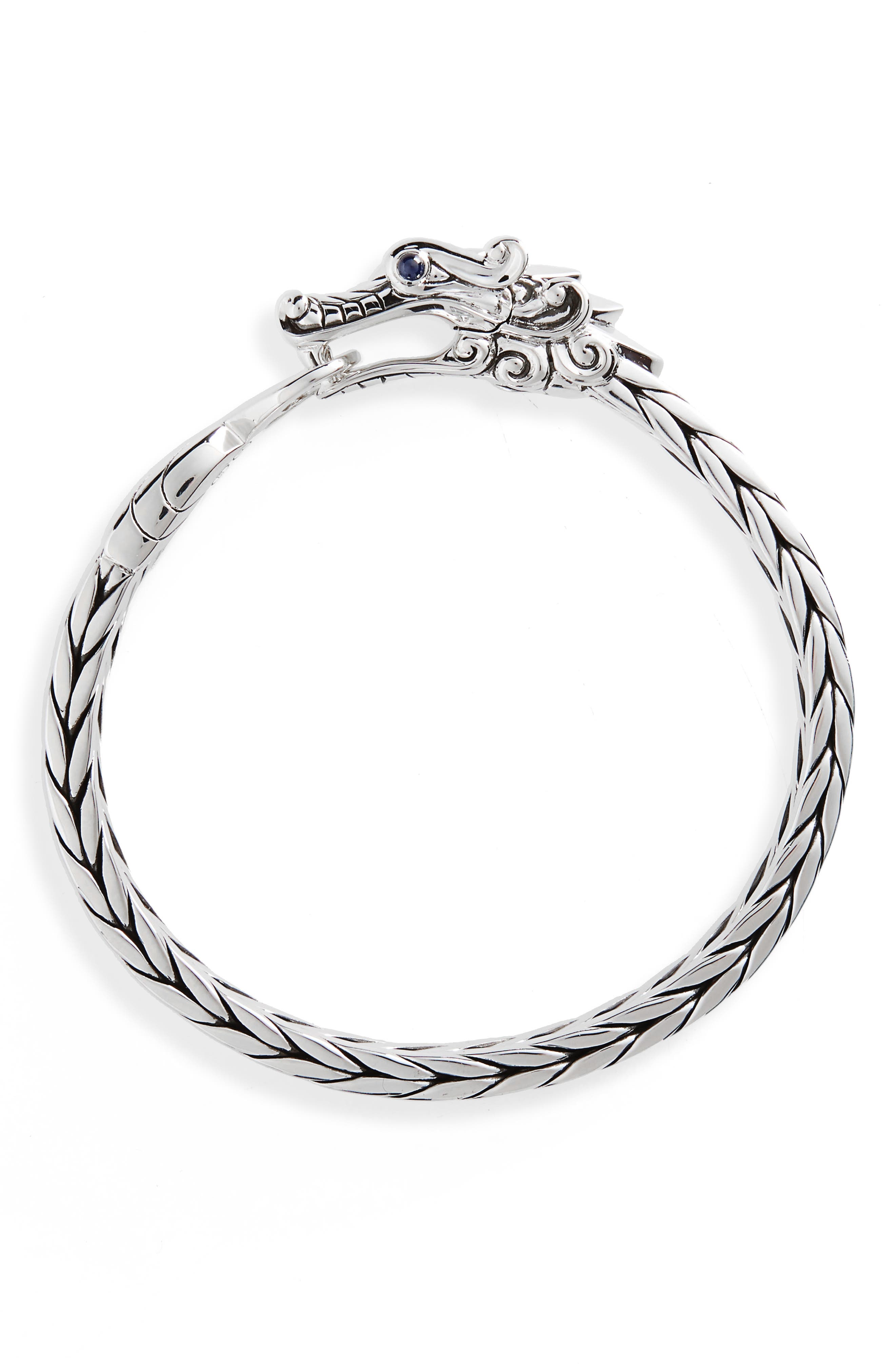 Legends Naga Sterling Silver Bracelet,                         Main,                         color, Silver/ Blue Sapphire
