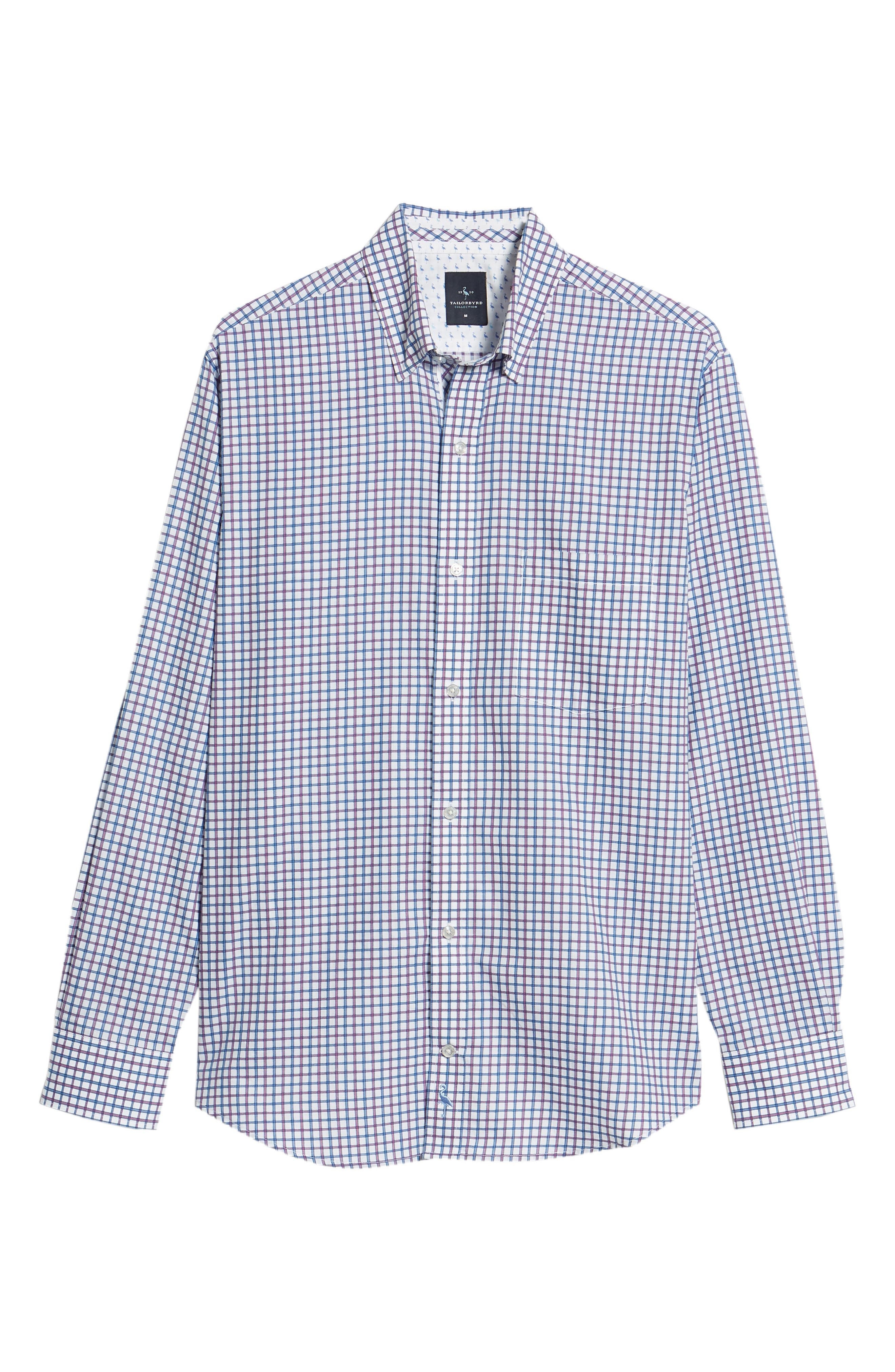 Beck Regular Fit Windowpane Sport Shirt,                             Alternate thumbnail 6, color,                             Blue