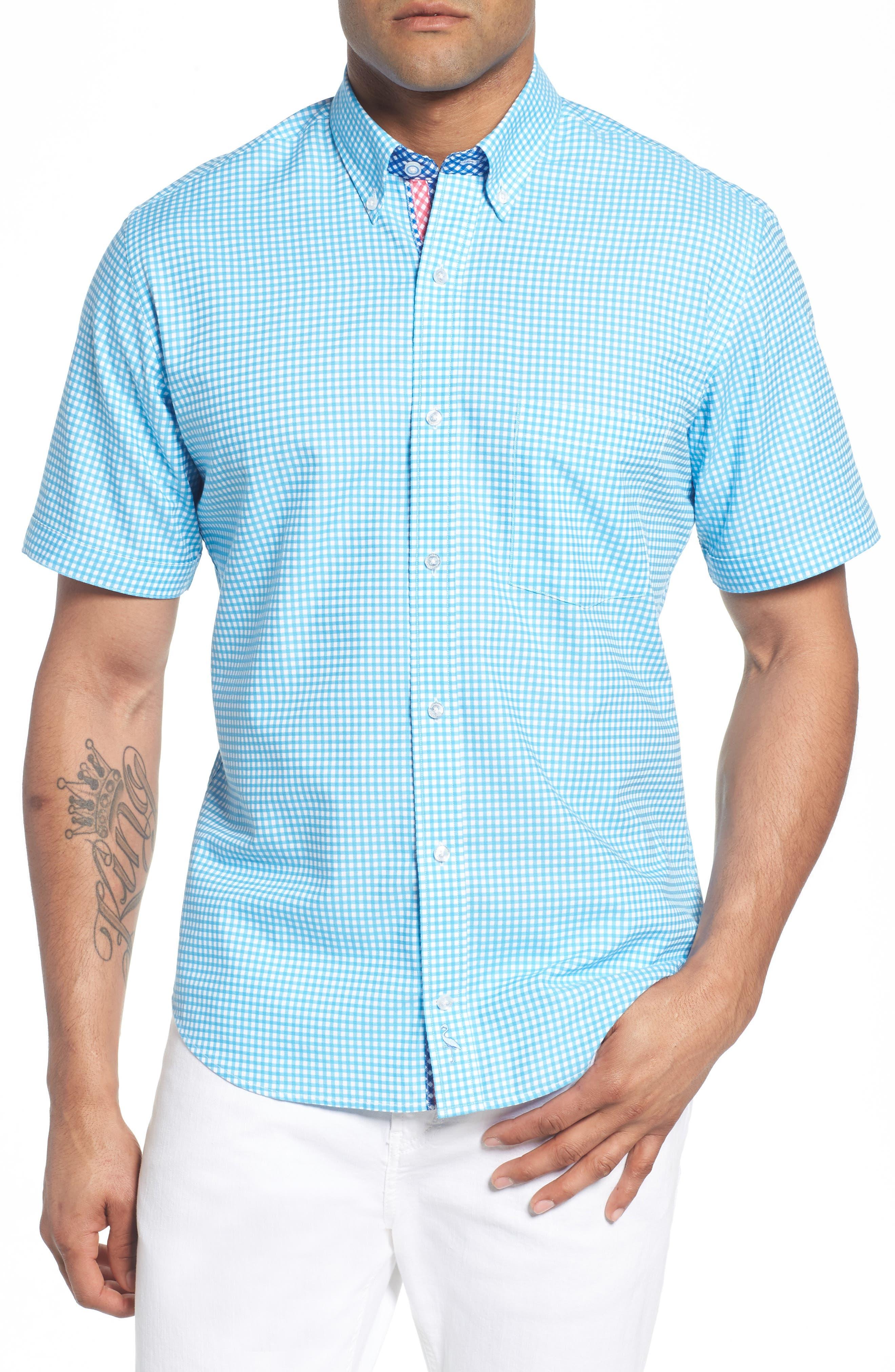 Aden Regular Fit Sport Shirt,                             Main thumbnail 1, color,                             Aqua