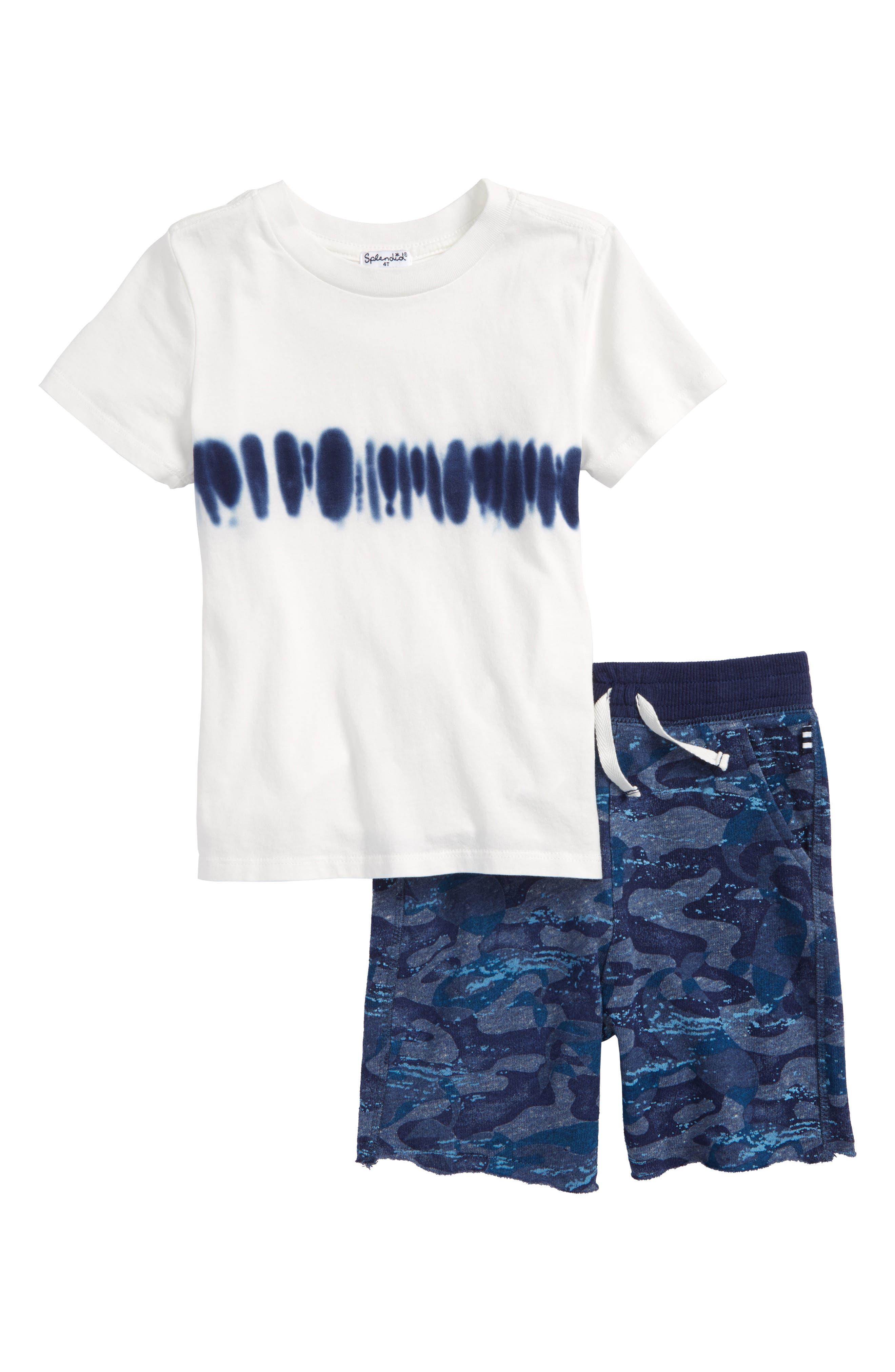 Tie Dye T-Shirt & Whale Camo Shorts Set,                             Main thumbnail 1, color,                             Full Sail