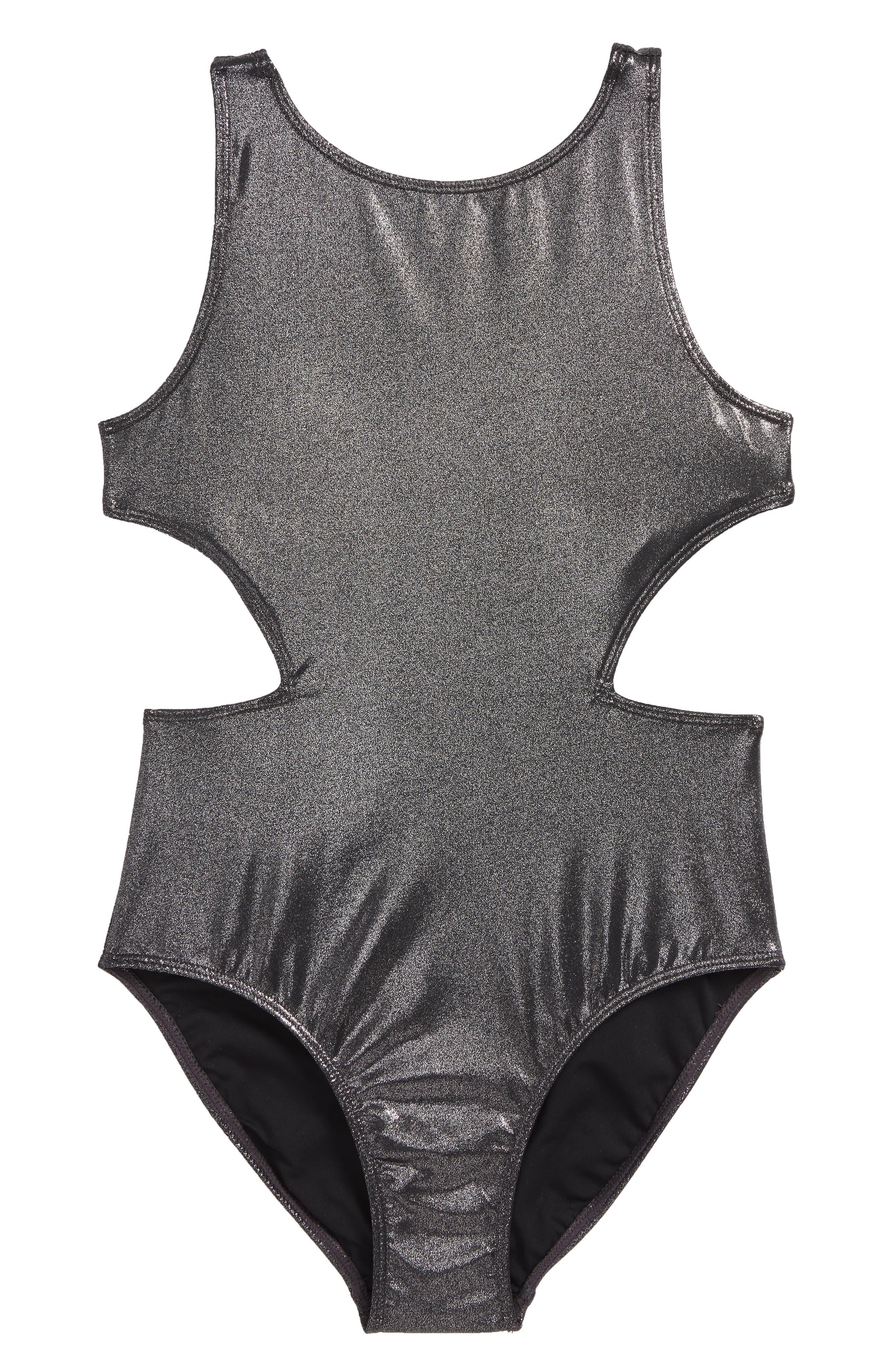 Shine One-Piece Swimsuit,                             Main thumbnail 1, color,                             Silver- Black Metallic