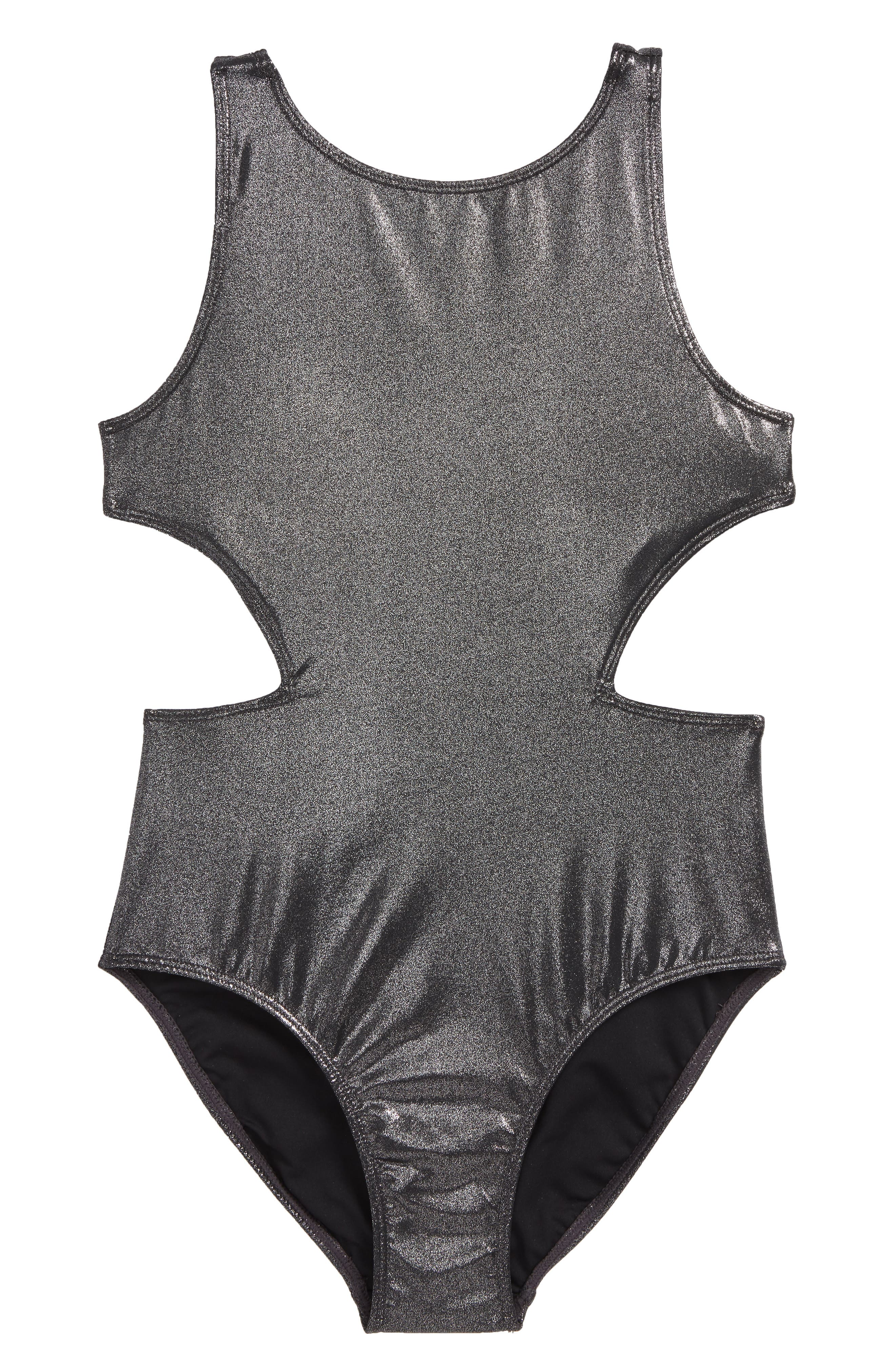 Shine One-Piece Swimsuit,                         Main,                         color, Silver- Black Metallic
