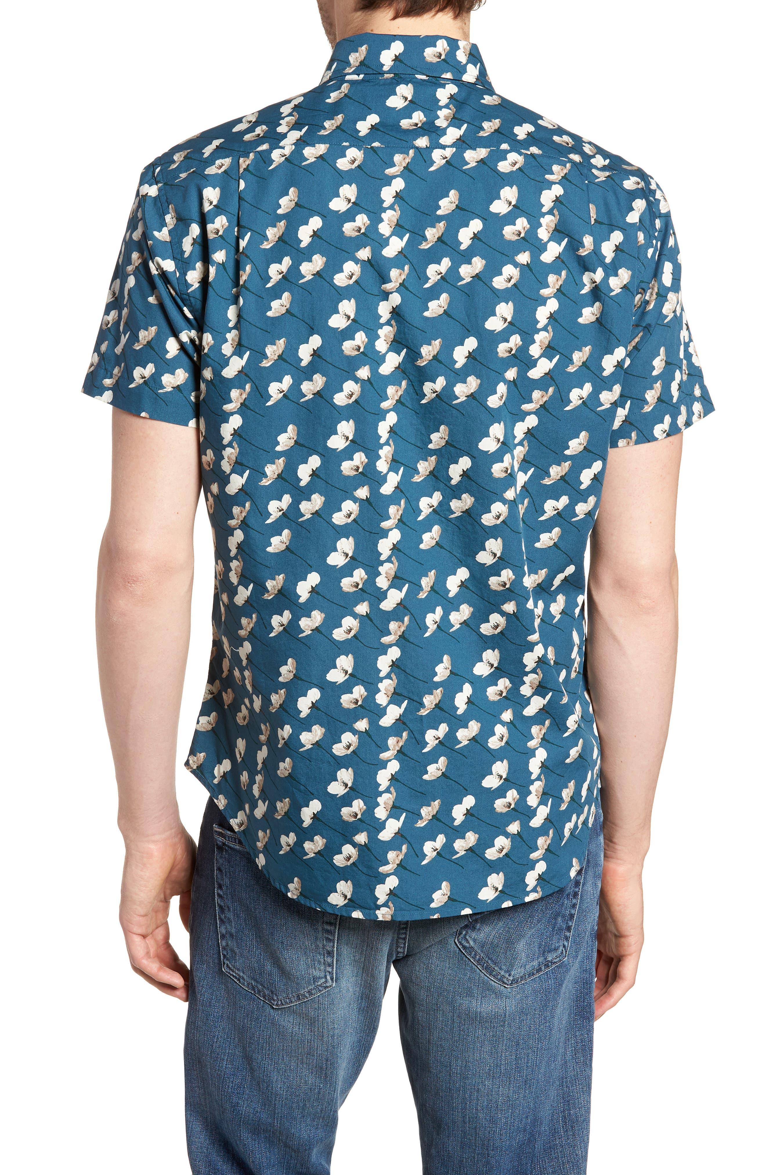 Riviera Slim Fit Cherry Blossom Print Sport Shirt,                             Alternate thumbnail 5, color,                             Cherry Blossoms-Stargazer