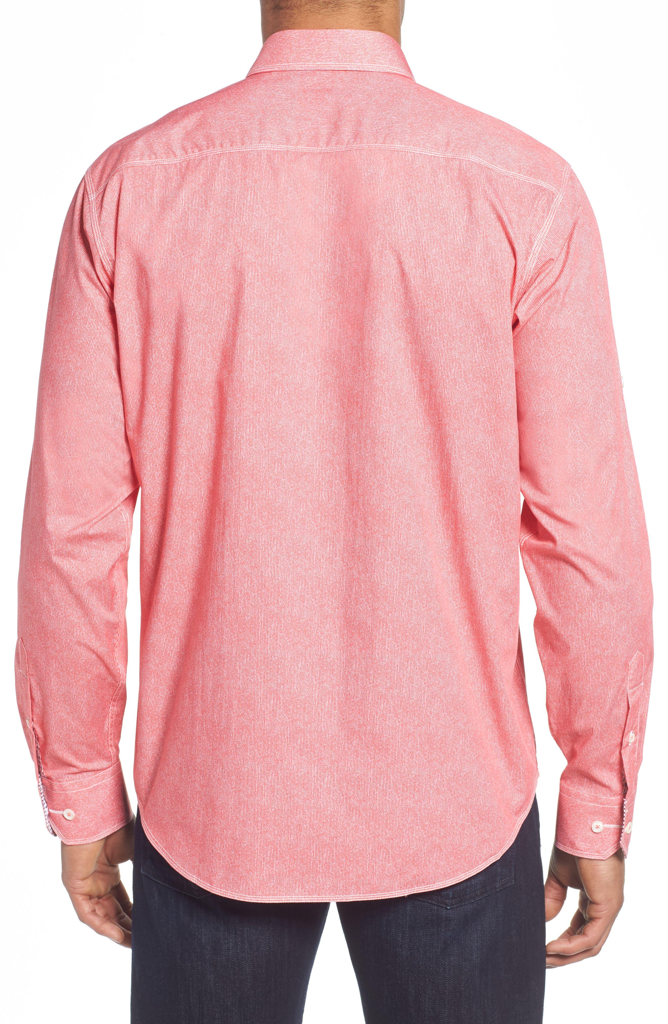 Classic Fit Stripe Sport Shirt,                             Alternate thumbnail 2, color,                             Pink