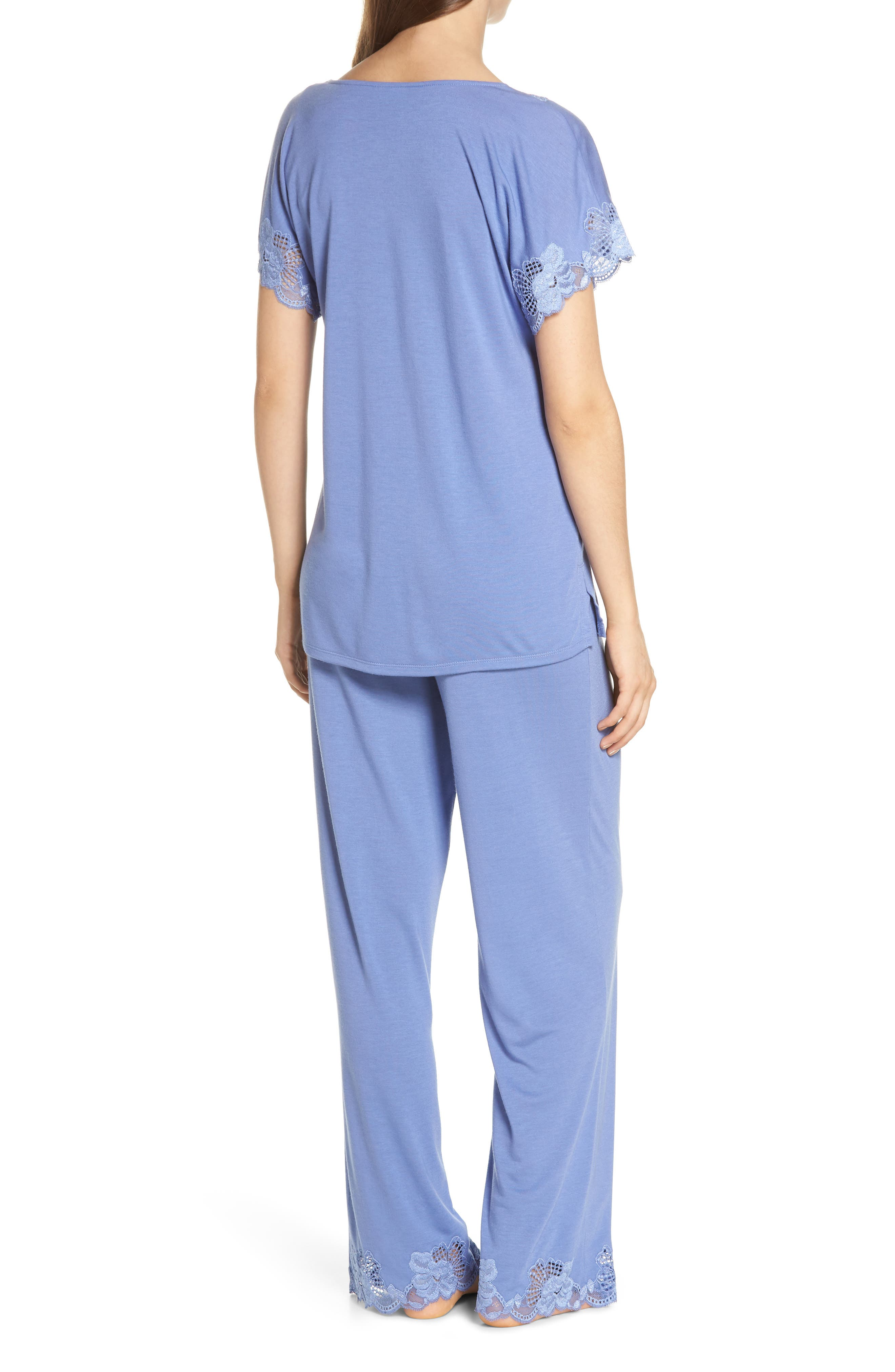 'Zen Floral' Pajama Set,                             Alternate thumbnail 2, color,                             Wedgewood